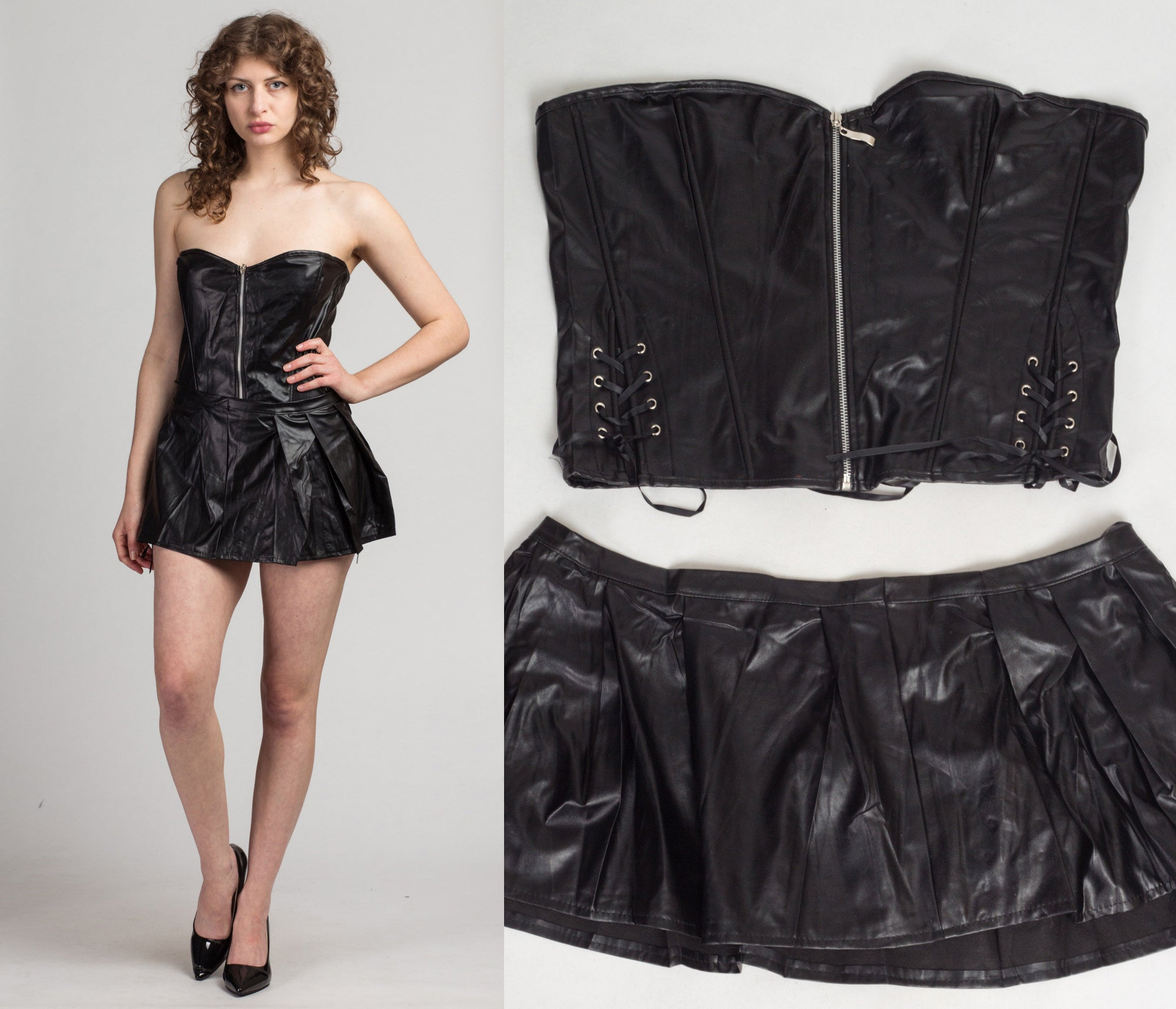 Black Faux Leather Bustier & Skirt Set - 2X to 3X | Y2k Black Pin Up Costume Corset Outfit