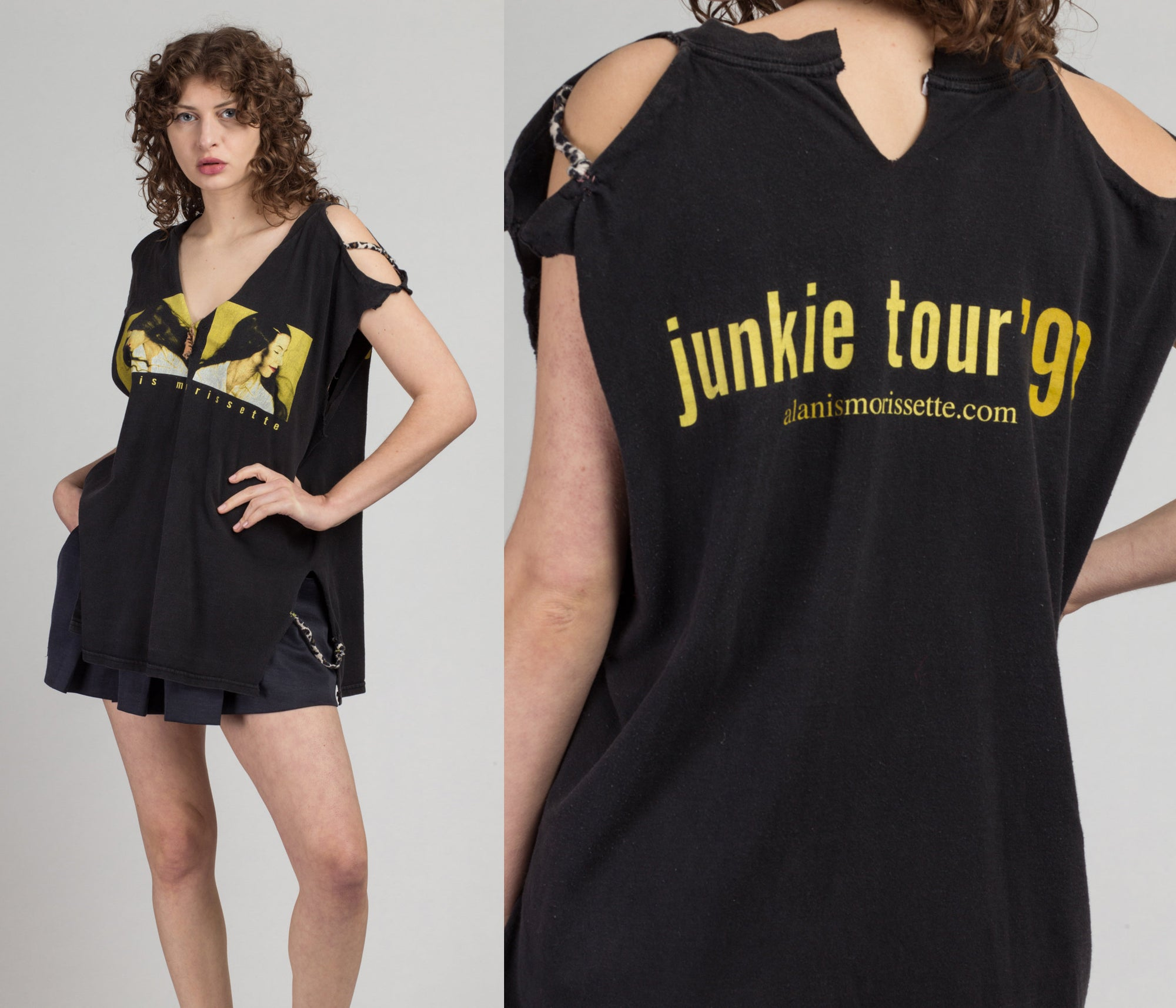 1999 Alanis Morissette Junkie Tour Muscle Tee - XXL | Vintage 90s Black Grunge Graphic Band Tank