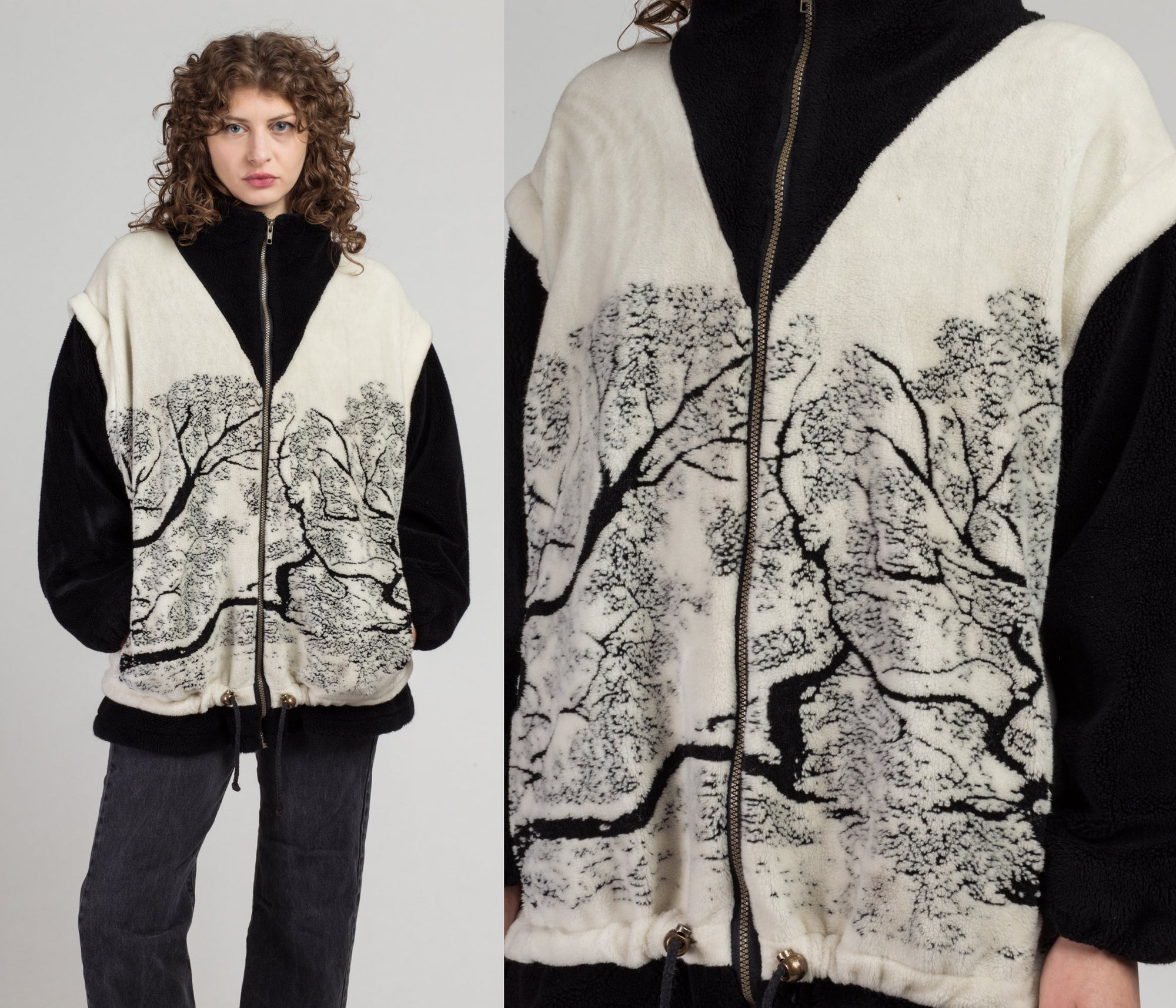90s Fleece Tree Print Jacket - Extra Large | Vintage Zip Up Oversize Soft Sweatshirt