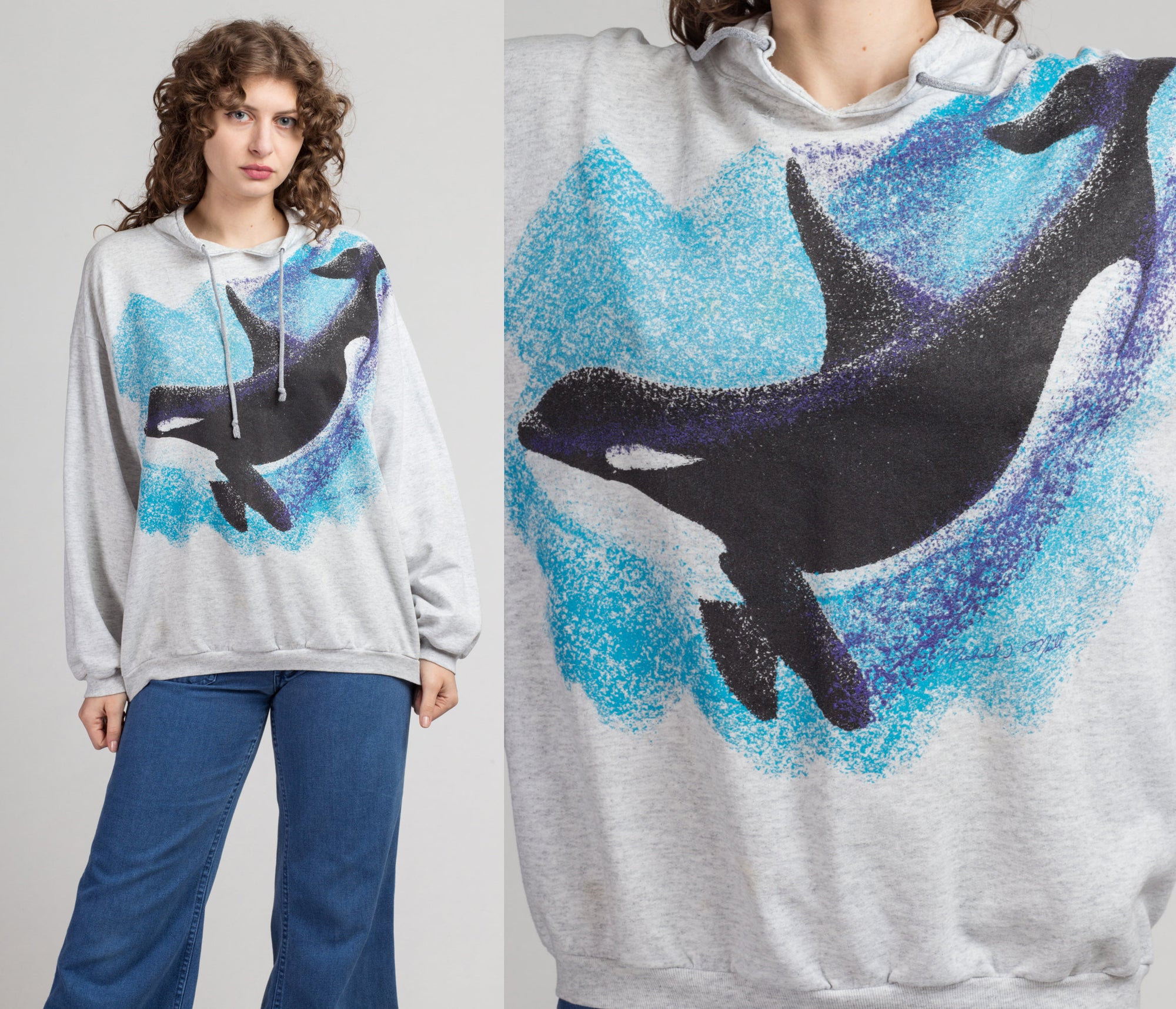 Vintage Blue Whale Sweatshirt - One Size | 80s 90s Grey Retro Animal Graphic Pullover