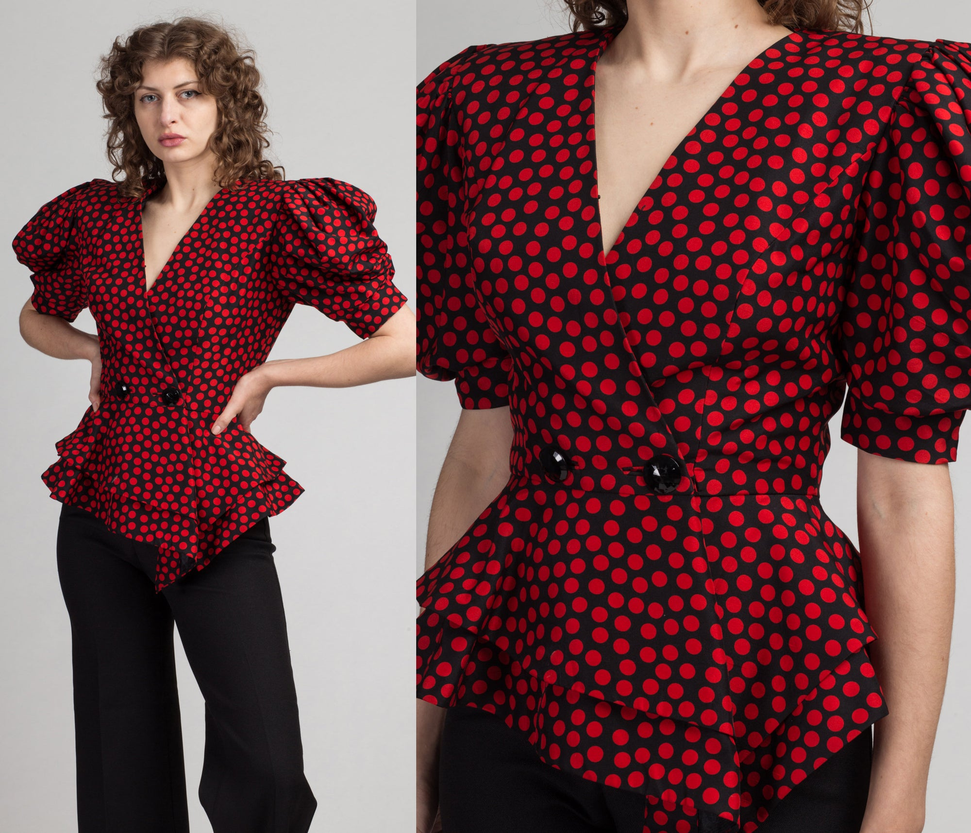 80s Raul Blanco Red Silk Polka Dot Puff Sleeve Blouse - Small to Medium | Vintage Neiman Marcus Designer Fitted Waist Wrap Top