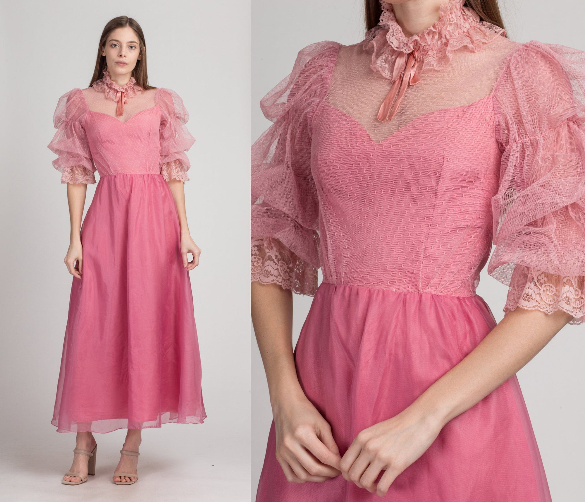 70s Victorian Pink Lace Puff Sleeve Party Dress - Extra Small | Vintage A Line Sheer Trim Formal Gown