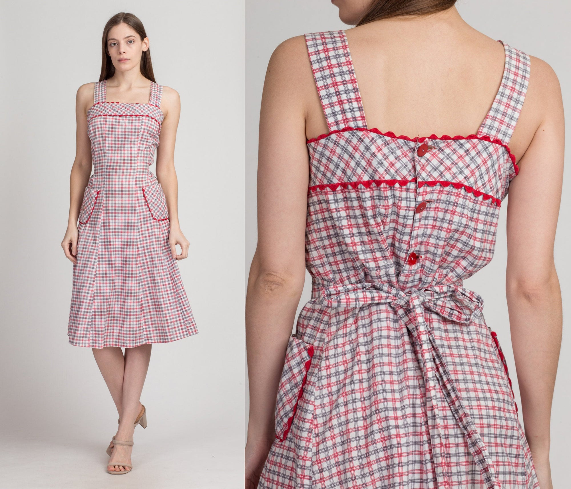 Vintage 40s 50s Red Plaid Day Dress - Large | 1940s Boho Fit & Flare Pocket Sundress
