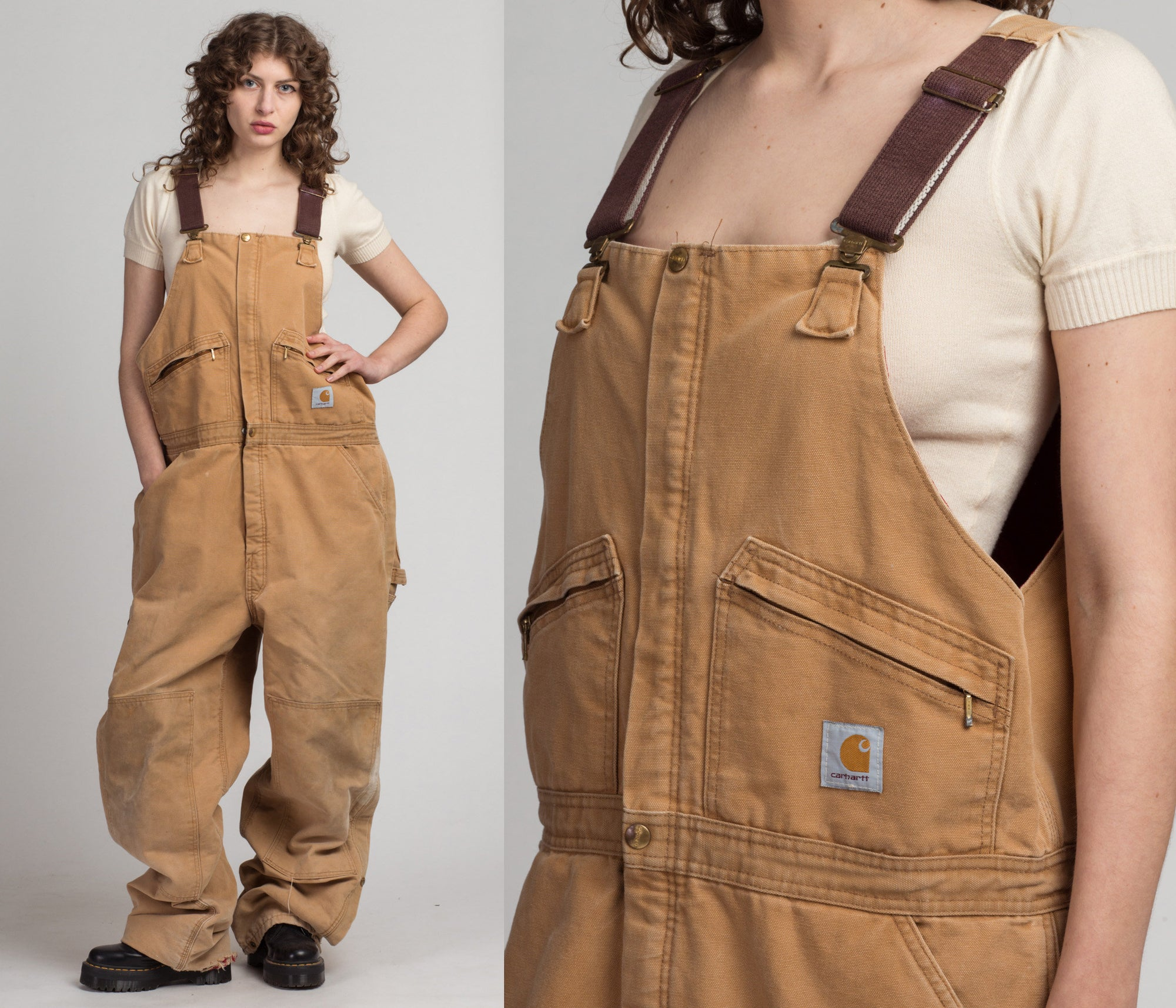 80s 90s Tan Carhartt Insulated Lined Overalls - 42x34, Men's XL | Vintage Made In USA Distressed Workwear Jumpsuit