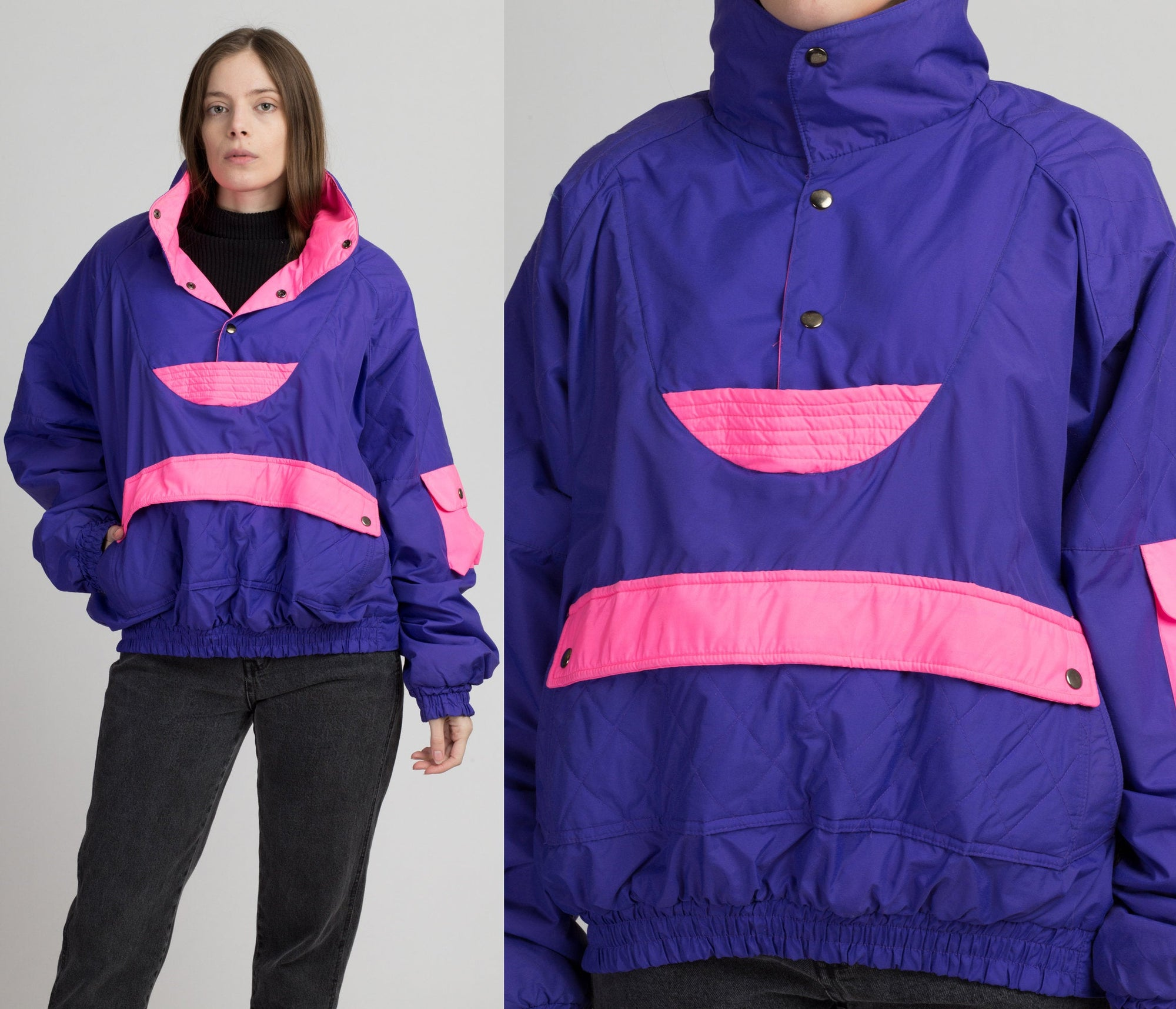 80s Newface Explosive Puffer Ski Jacket - Men's XL | Vintage Purple Pink Color Block Pullover Winter Coat