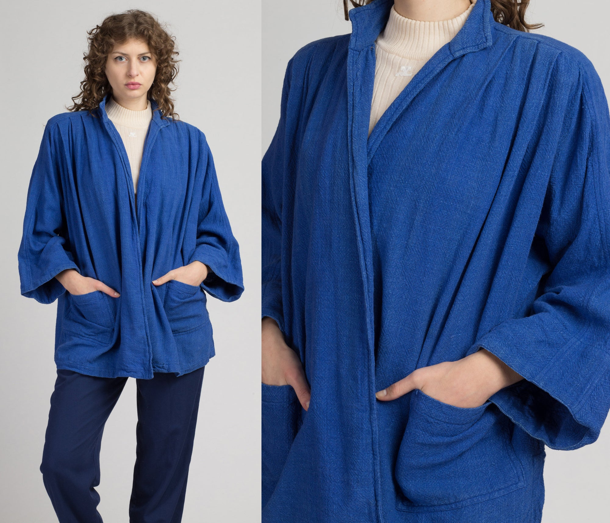 70s Sangam Imports Blue Cotton Haori Jacket - One Size | Vintage Boho Minimalist Lightweight Open Fit Top
