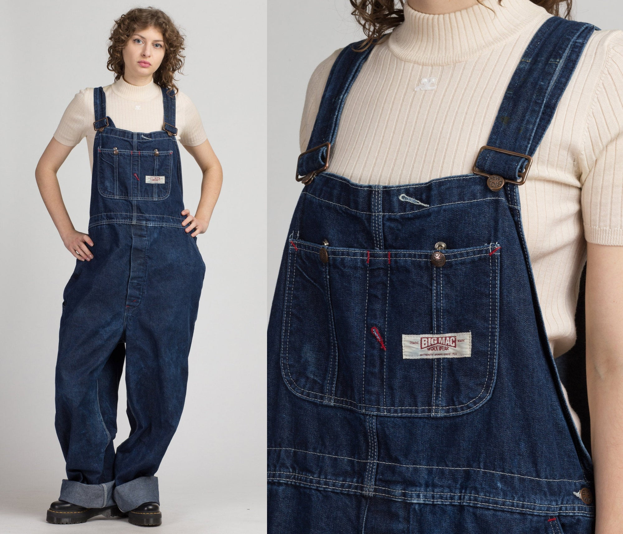 Vintage Big Mac Square Bak Overalls - Men's 2XL | 80s Denim Overall Pants Workwear Blue Jean Dungarees