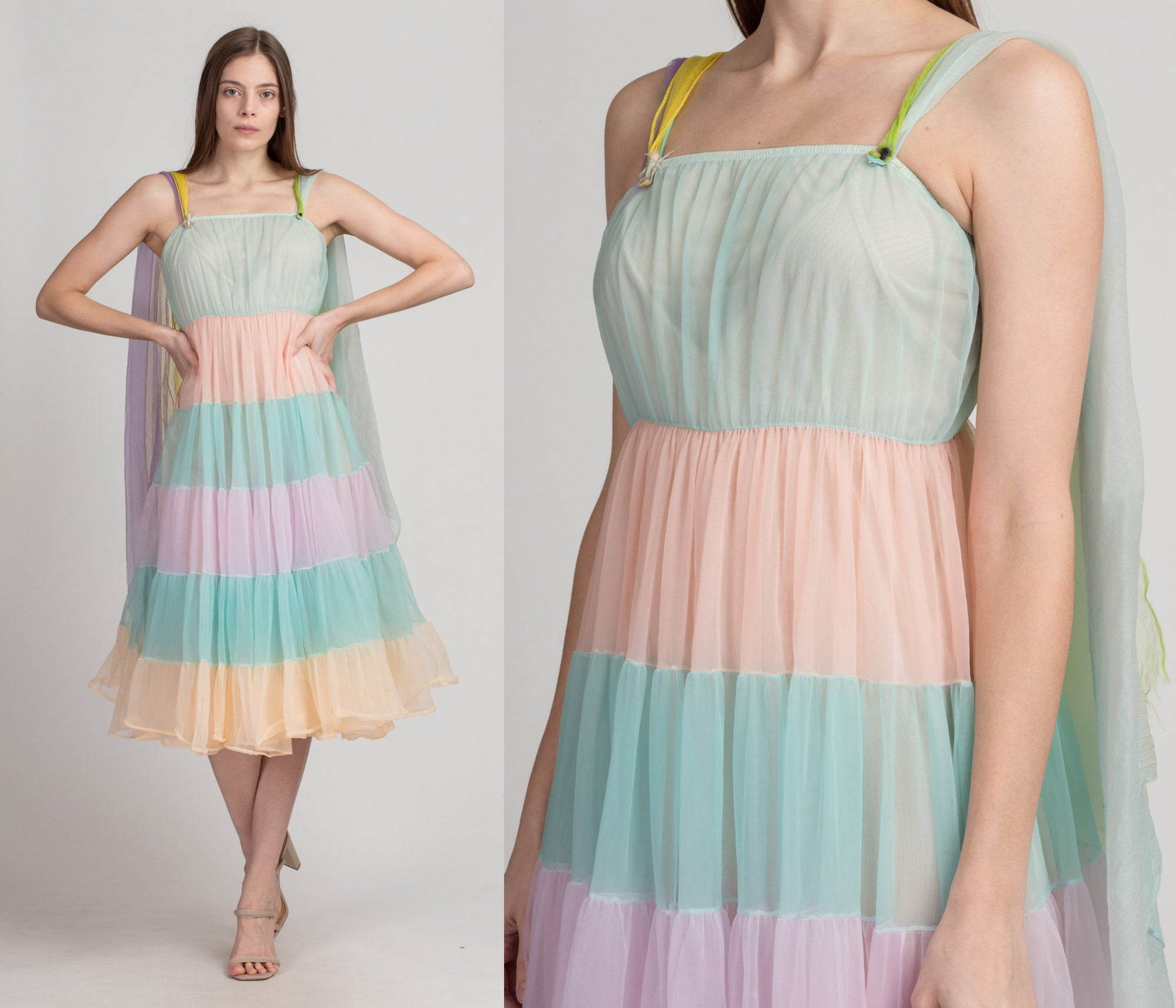 60s Pastel Color Block Babydoll Nightie - Extra Small | Vintage Sheer Capelet Peignoir Midi Slip Dress