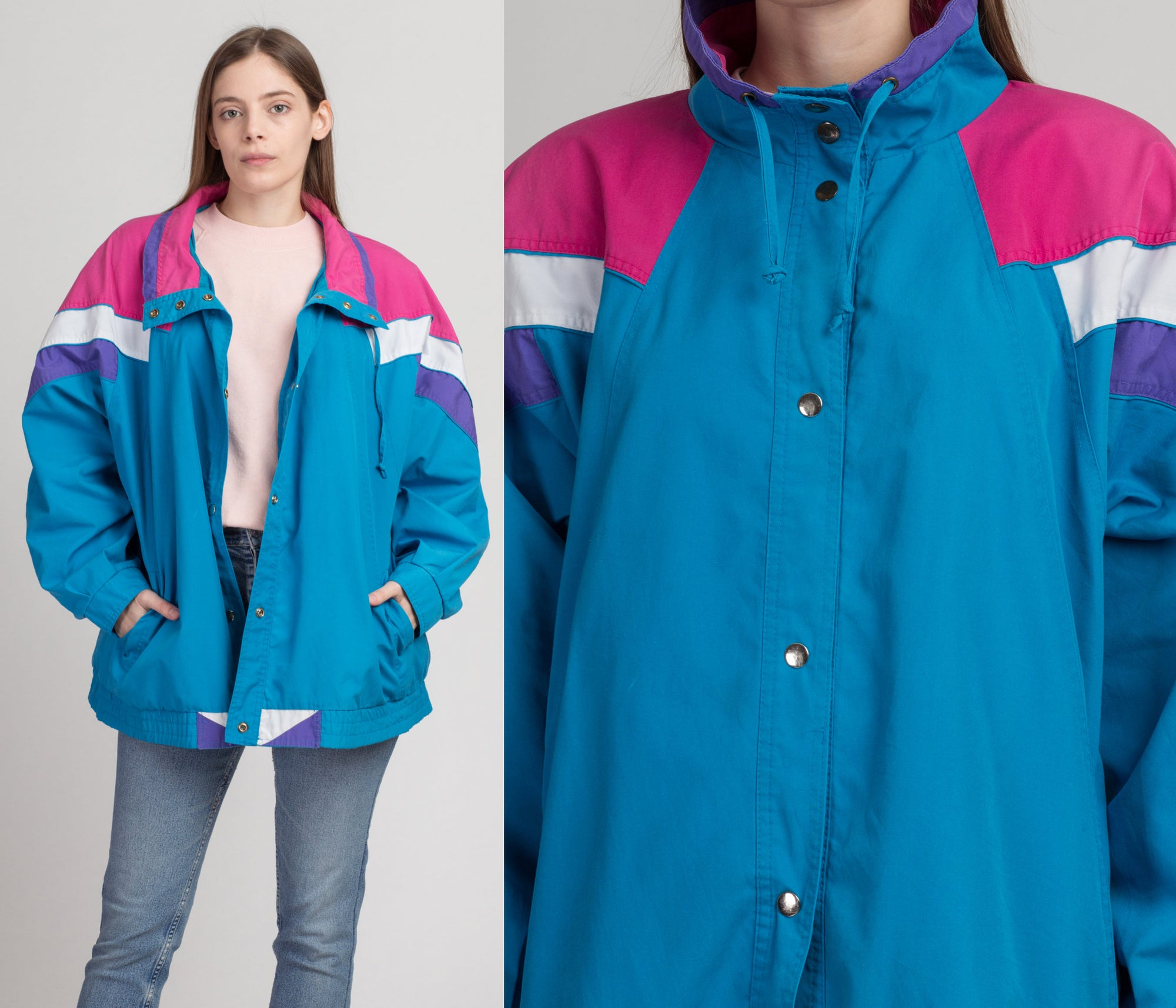 80s Current Seen Blue & Pink Color Block Jacket - 3X | Vintage Cotton Lightweight Streetwear Coat