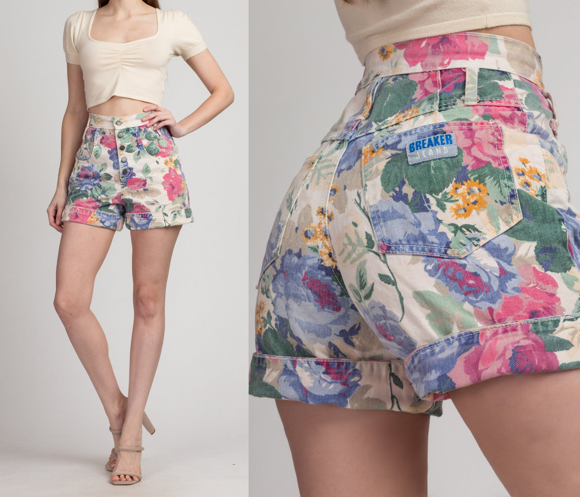 80s High Waist Floral Jean Shorts - Extra Small, 25"