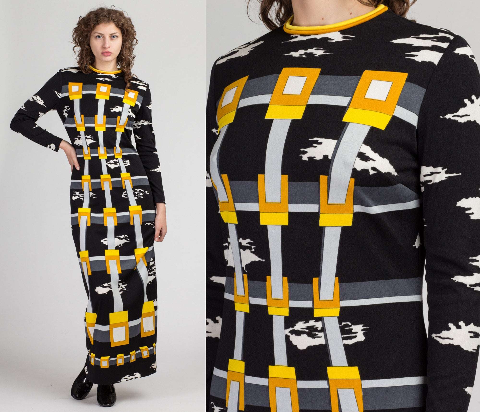 70s Mr Dino Surrealist Print Dress - Medium to Large | Vintage Black White Yellow Long Sleeve Column Maxi Dress