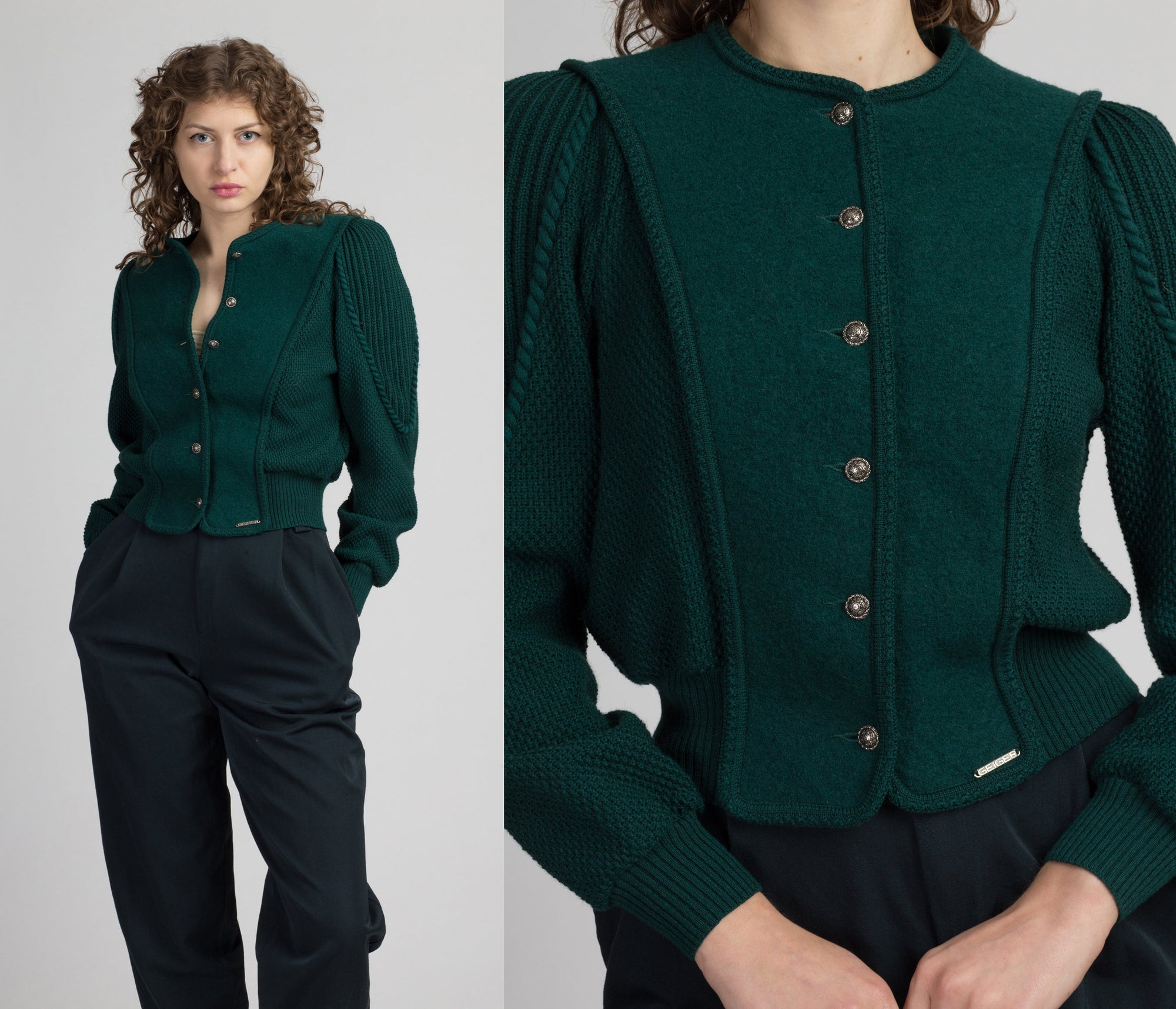 80s Austrian Forest Green Cropped Trachten Cardigan - Small | Vintage Geiger Puff Sleeve Boiled Wool Knit Tyroleon Sweater