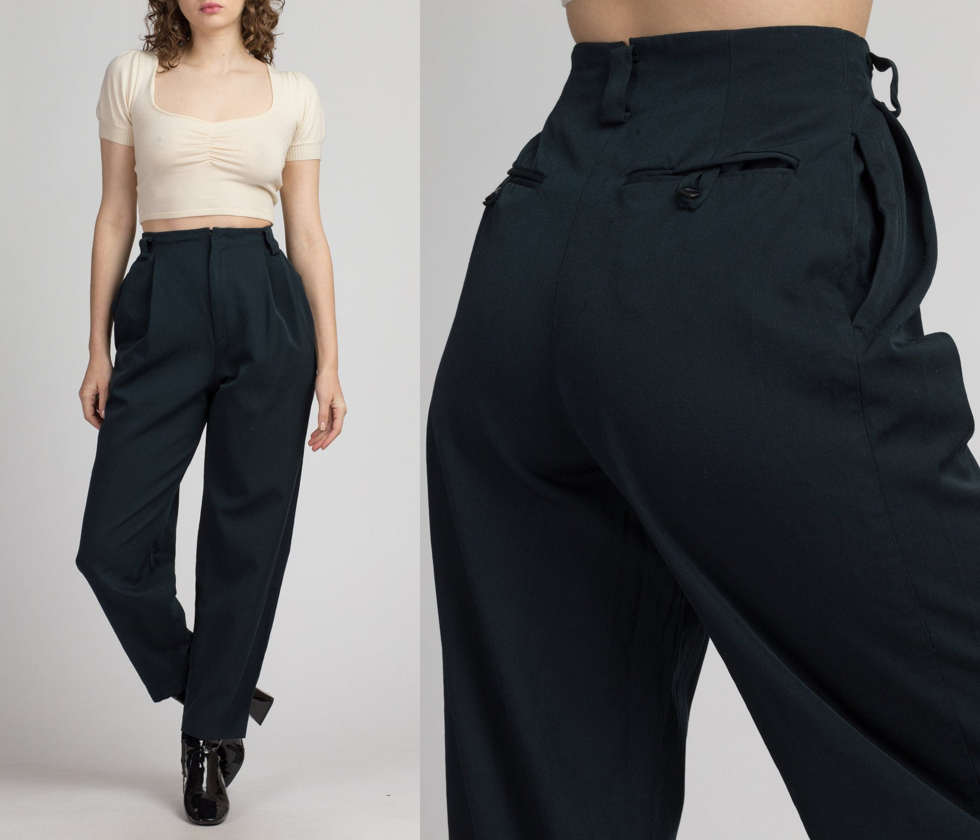 80s High Waisted Forest Green Trousers - Size 4 | Vintage Retro Tapered Leg Pleated Wool Mom Pants