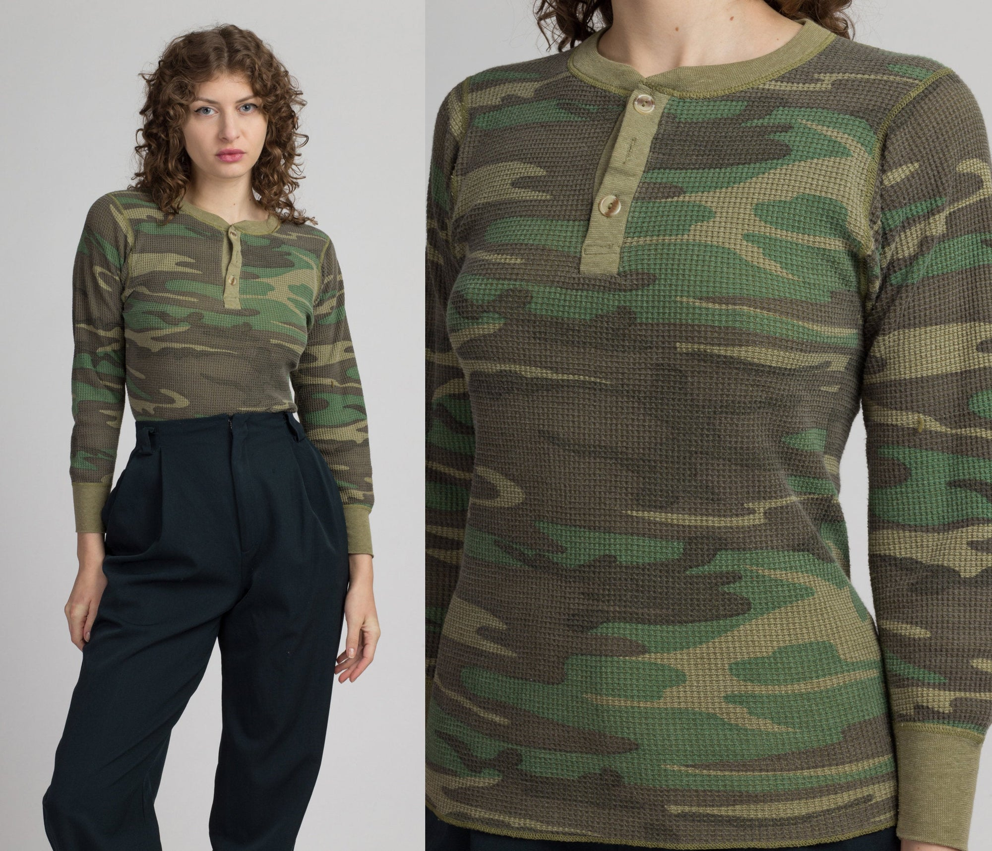 70s 80s Camo Waffle Knit Thermal Shirt - Extra Small | Vintage Unisex Undershirt Long Sleeve Top