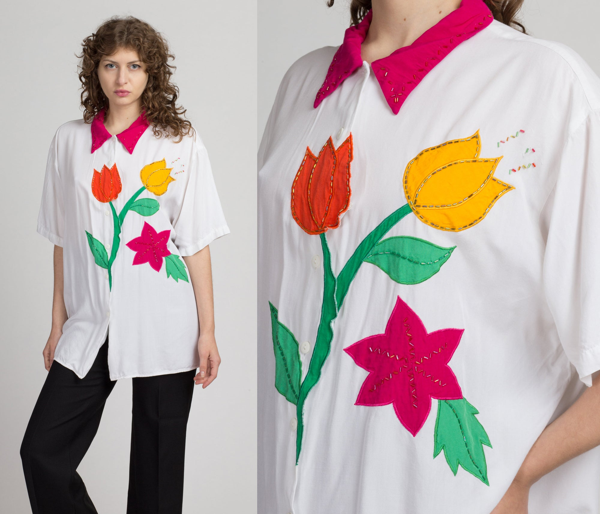 90s Beaded Floral Applique Blouse - 2X | Vintage White Collared Short Sleeve Button Up Novelty Top