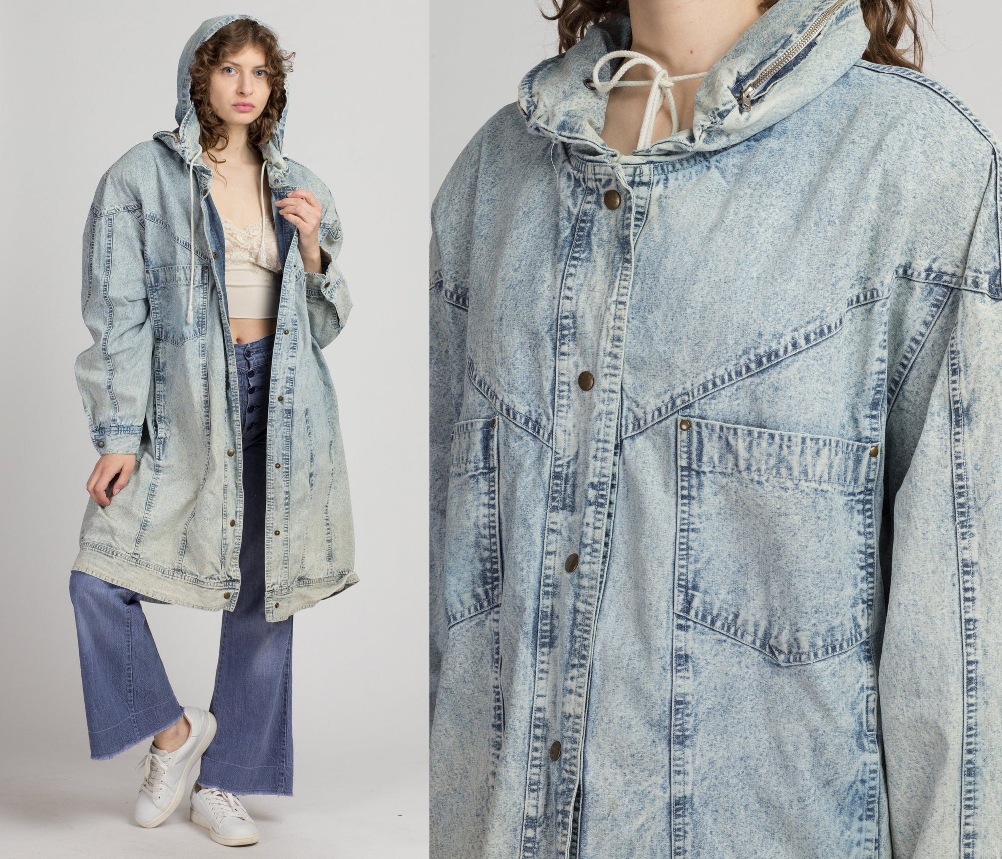 80s Acid Wash Hooded Denim Coat - XXL | Vintage Oversized Lightweight Grunge Long Jacket