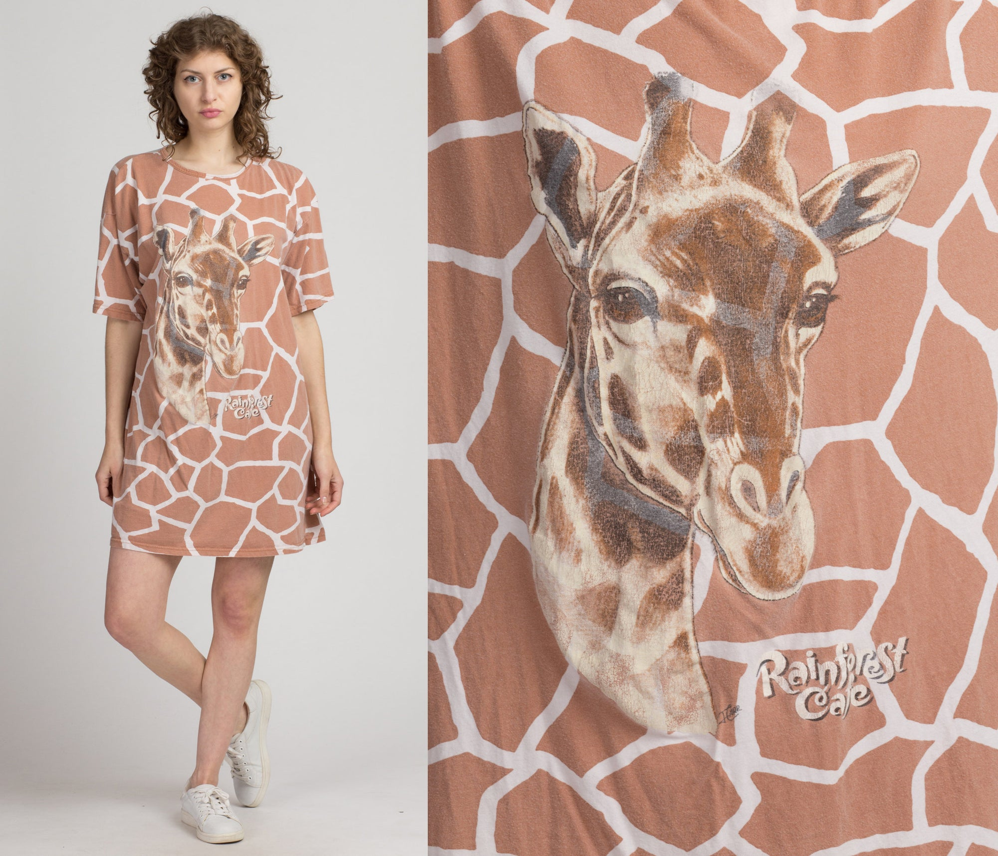 90s Giraffe All Over Print T Shirt - One Size | Vintage Oversize Rainforest Cafe Animal Graphic Tee