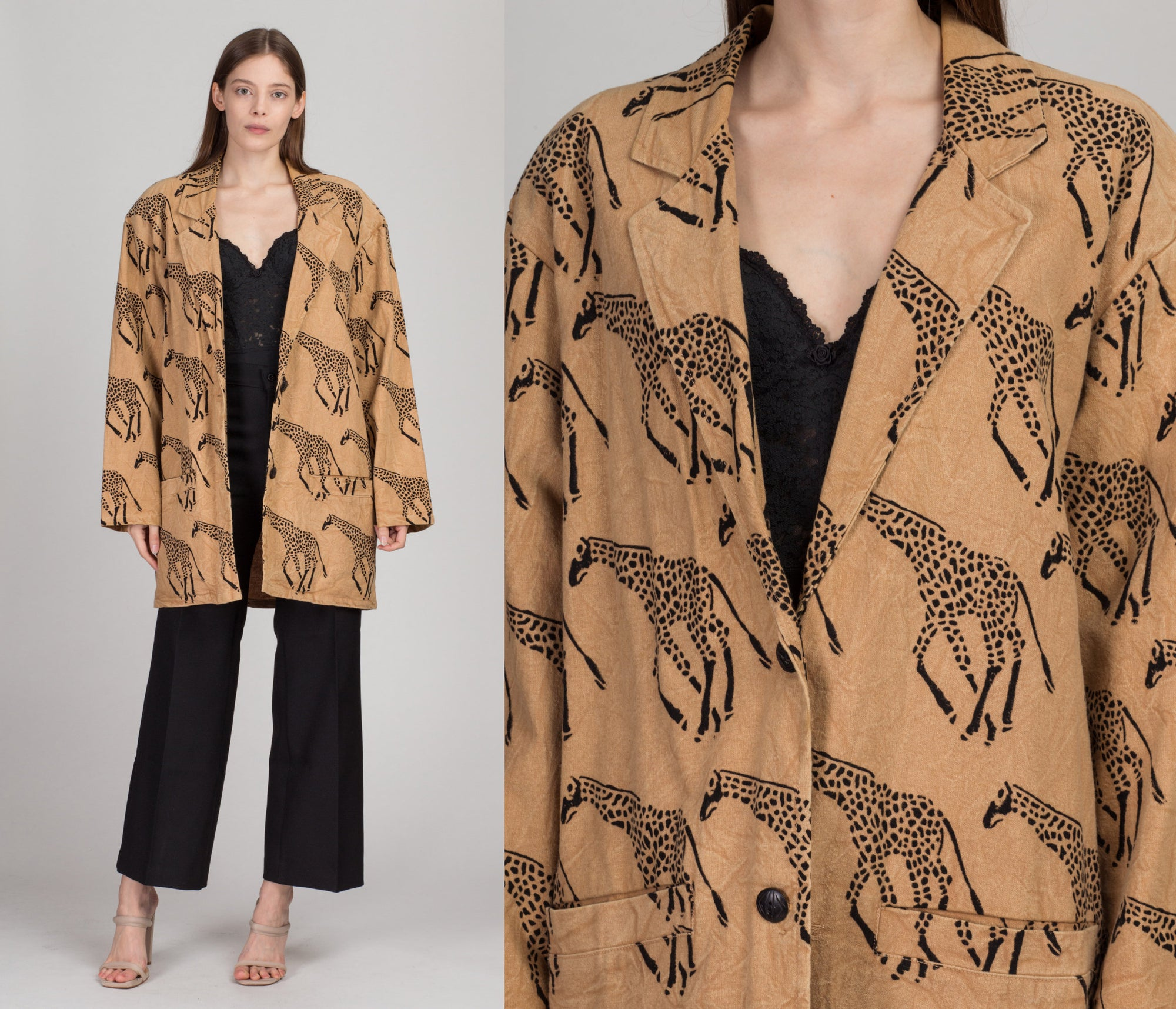 90s Oversize Cotton Giraffe Jacket - Men's Medium, Women's Large | Vintage Made In India Button Up Blazer Coat