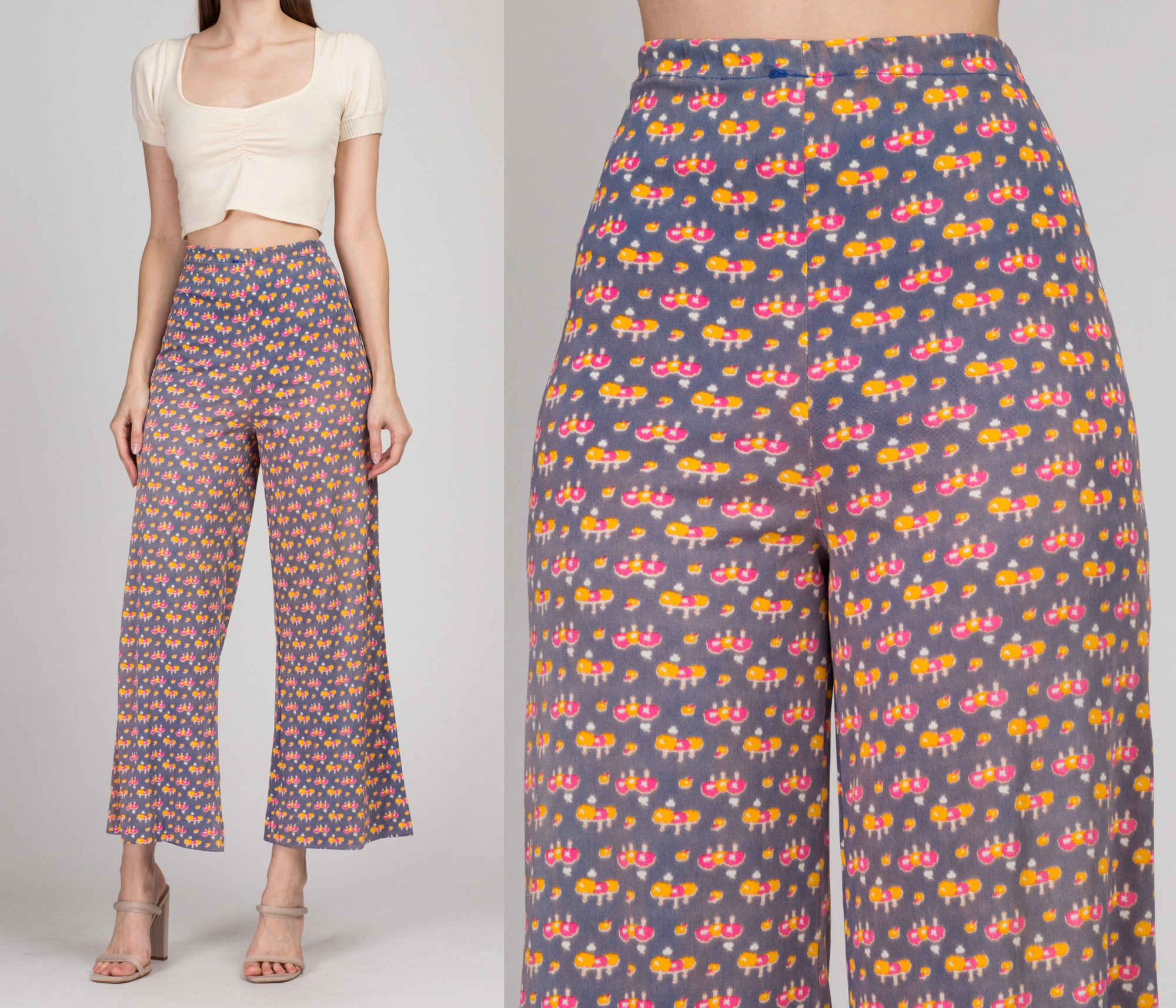 70s Tree Print High Waist Flared Pants - Large | Vintage Boho Wide Leg Polyester Trousers