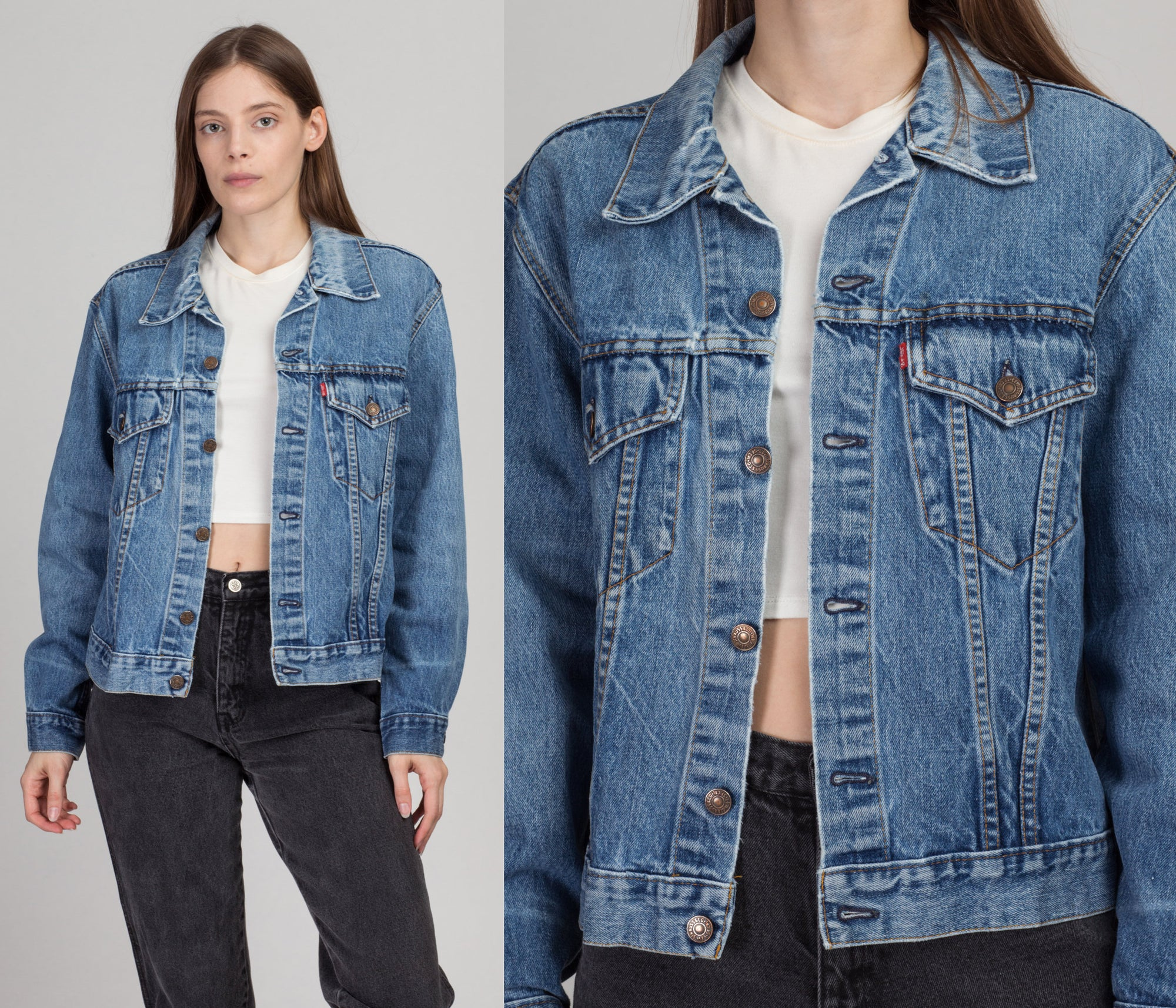 70s Levi's Two-Pocket Denim Jacket - Men's Small, Women's Medium | Vintage Grunge Jean Trucker Jacket