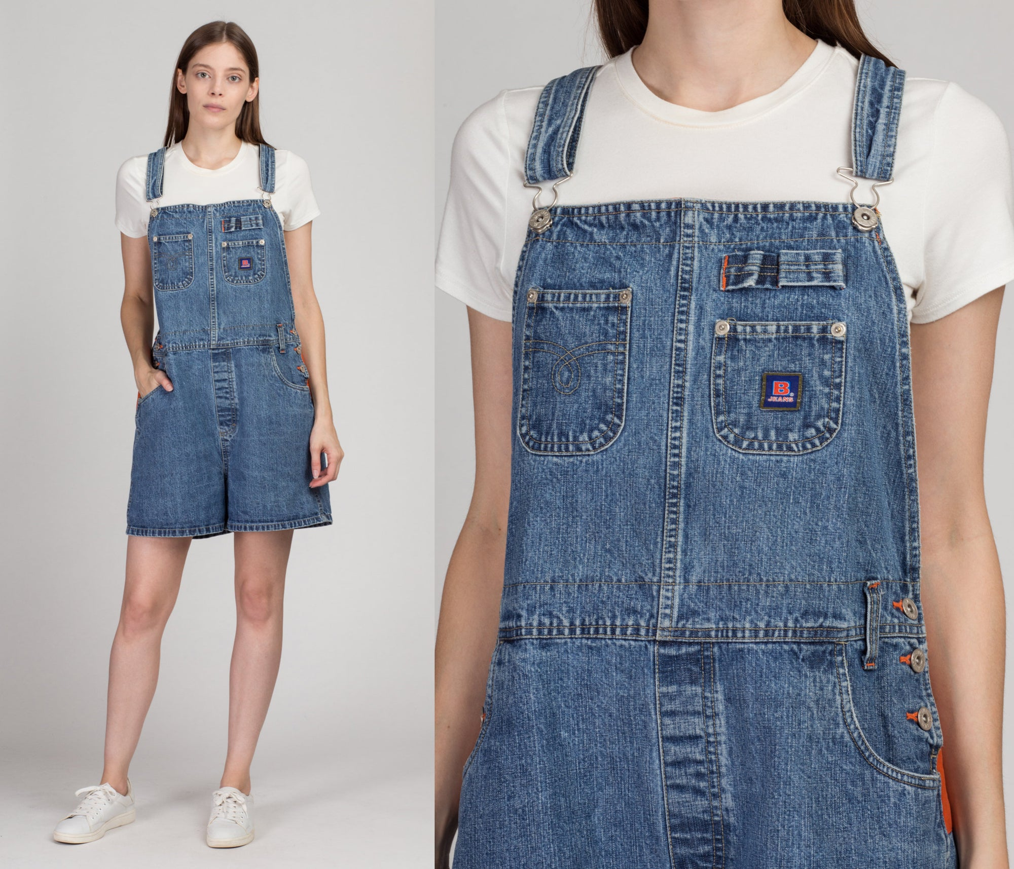 Vintage BUM Equipment Jean Overall Shorts - Extra Large | 90s Y2K Denim Orange Trim Romper Shortalls