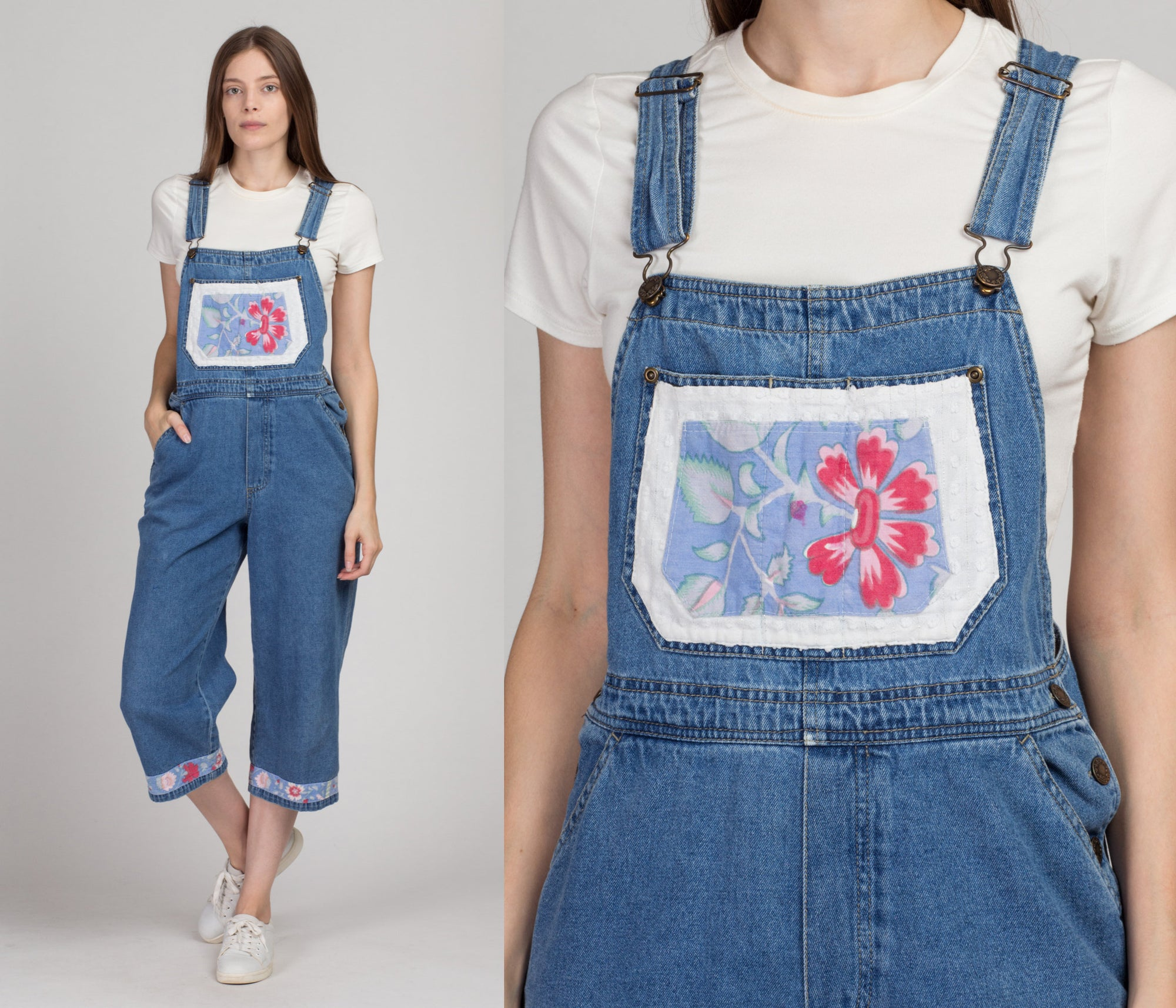 Vintage Floral Denim Capri Overalls - Medium | 90s Blue Jean Short Overall Pants