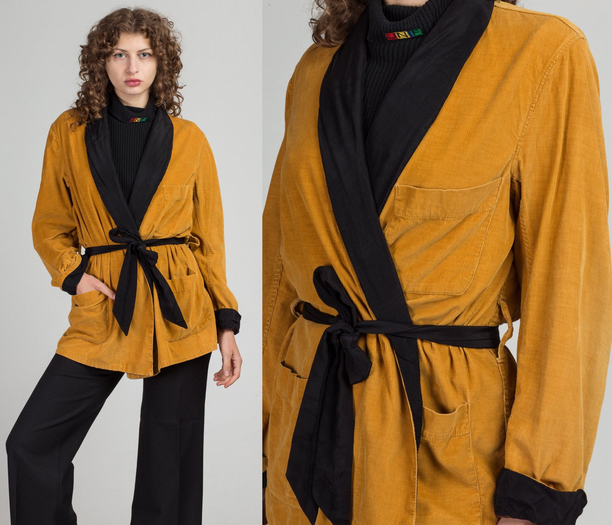 70s Yellow Corduroy Robe - One Size | Vintage Short Belted Wrap Smoking Jacket