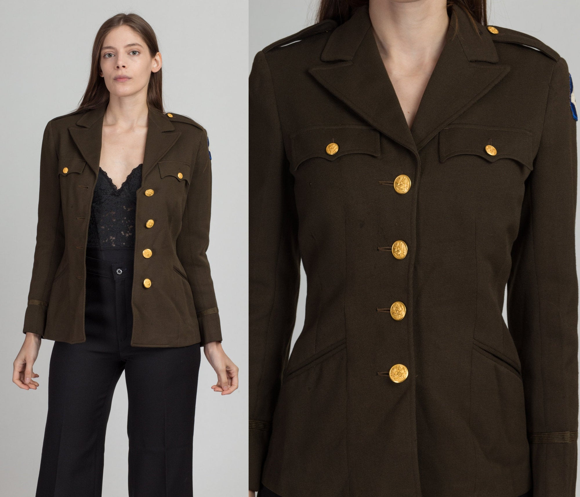 Vintage 1945 Military Blazer Jacket - Extra Small | 40s Olive Green Button Up Army Fitted Wool Coat