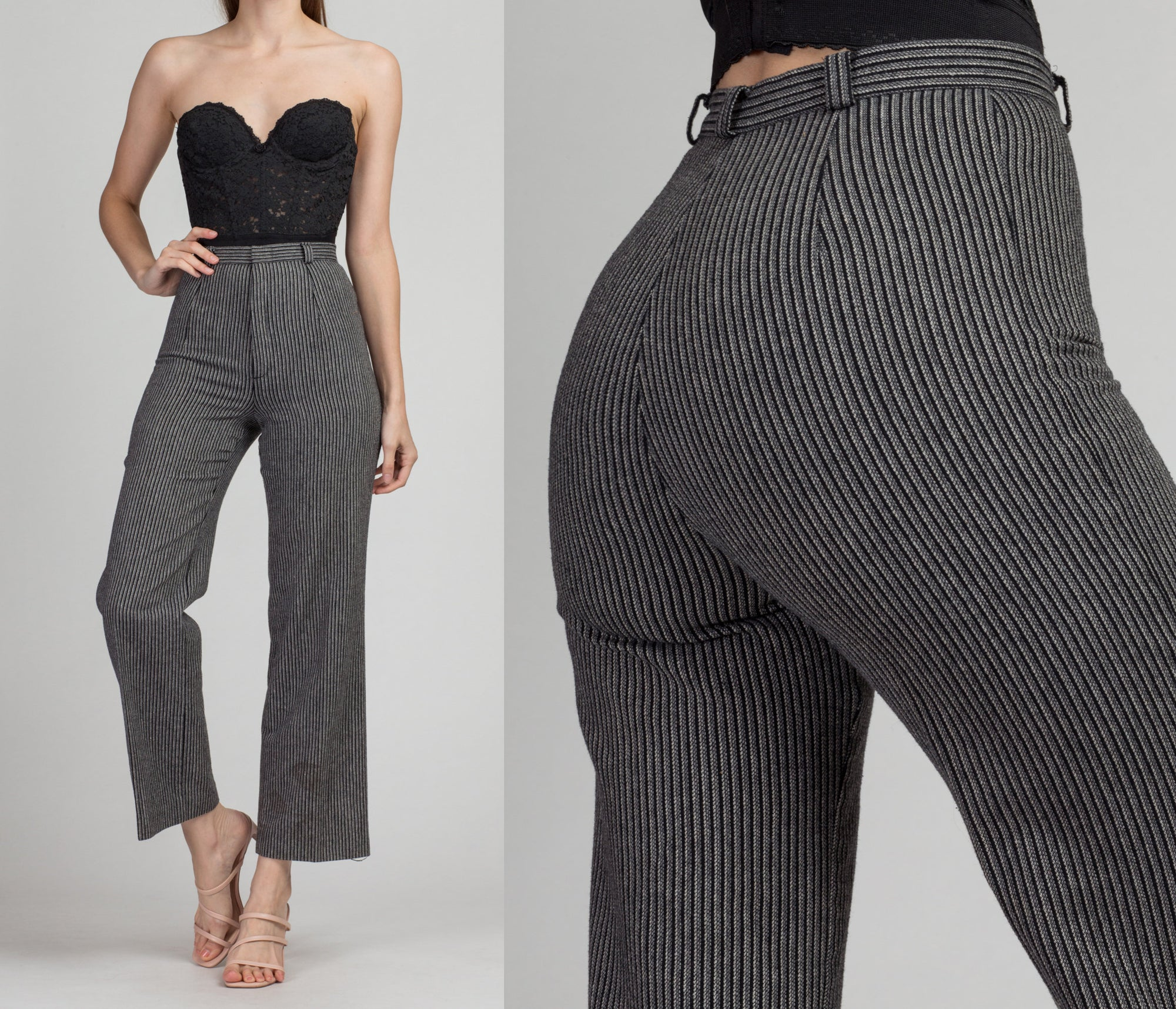 70s Black & Gray Striped High Waist Pants - Extra Small, 24"