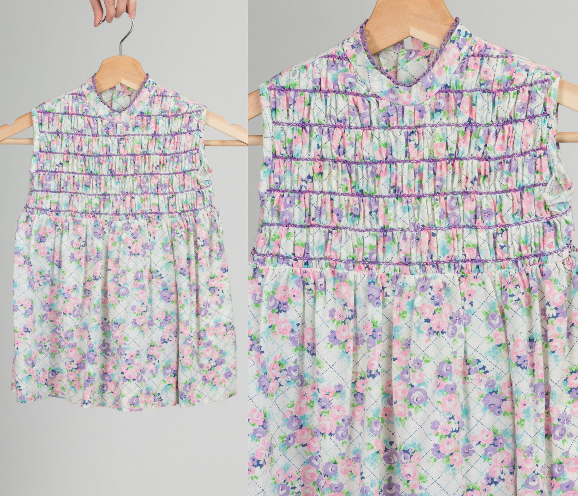 60s 70s Polly Flinders Smocked Girl's Dress - Size 5 | Vintage Floral Sleeveless Dress