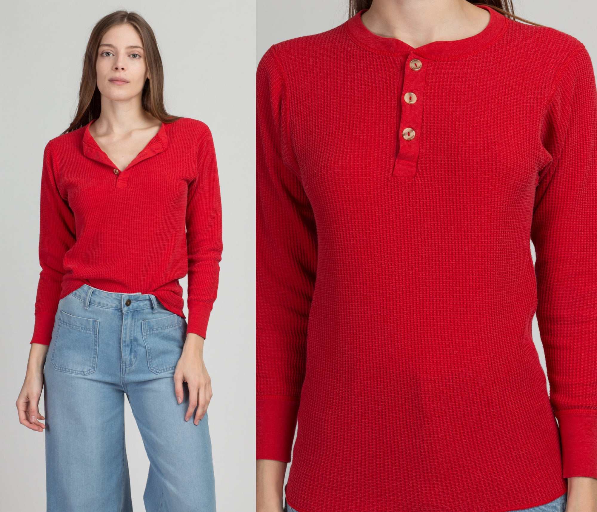 80s Red Waffle Knit Henley Shirt - Men's Small Short, Women's Medium | Vintage Plain Long Sleeve Thermal Top