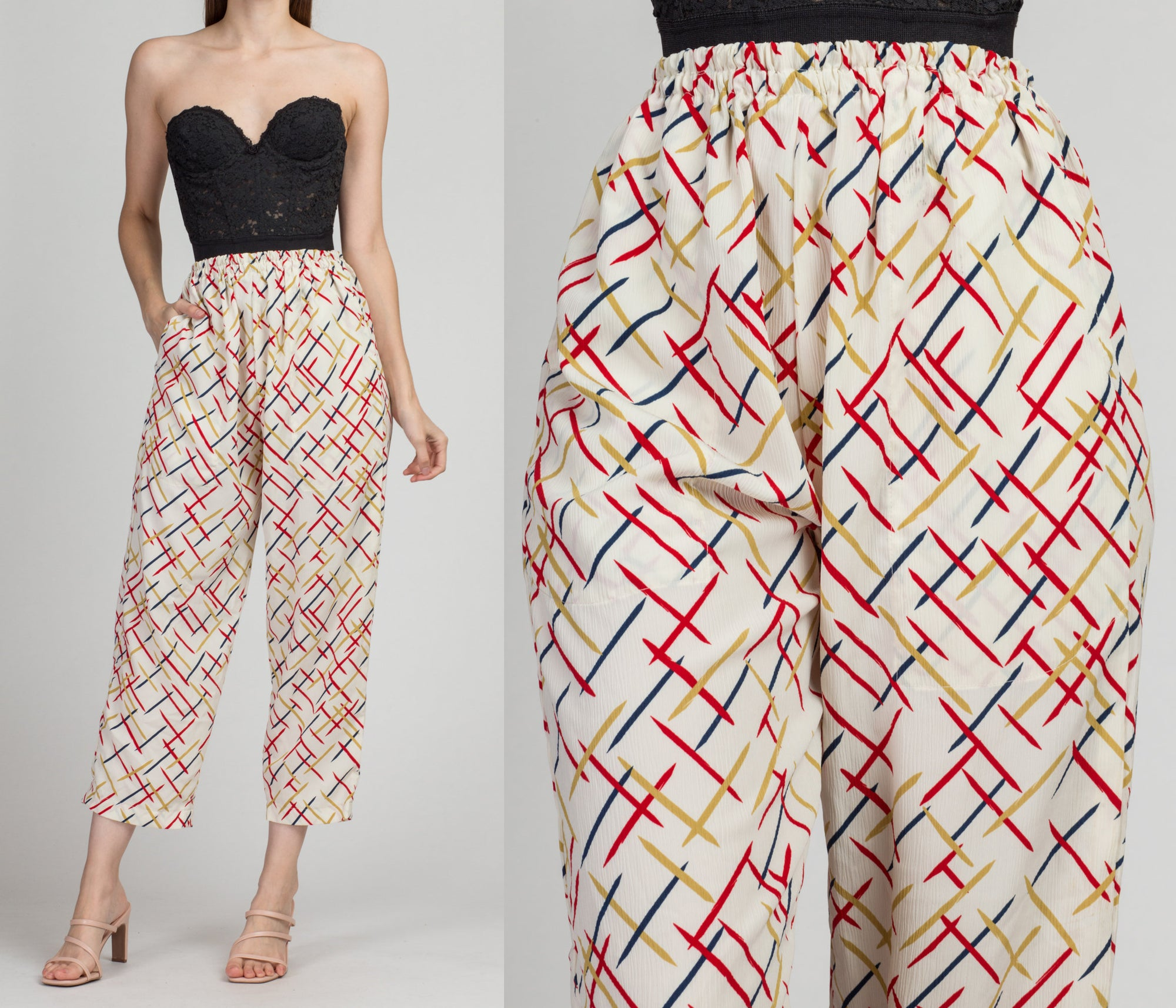 Vintage Geometric High Waist Pants - Small to Medium | 80s 90s Retro Cropped Ankle Lounge Pants