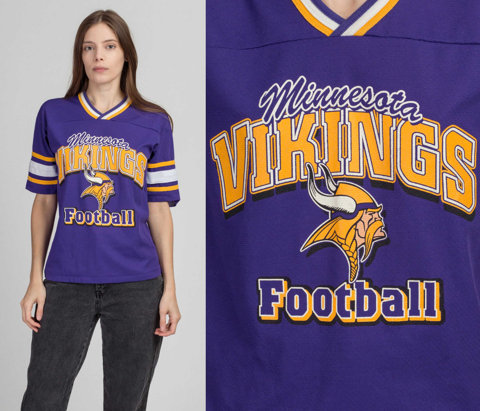 90s Minnesota Vikings NFL Jersey Shirt - Small | Vintage Purple Striped Trim Football Athletic Tee