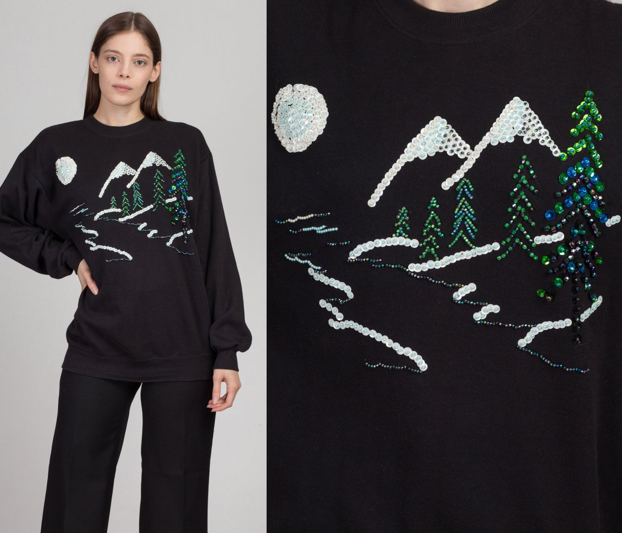 80s Black Winter Scene Sequin Sweatshirt - Men's Large, Women's XL | Vintage Mountain Snow Graphic Unisex Pullover
