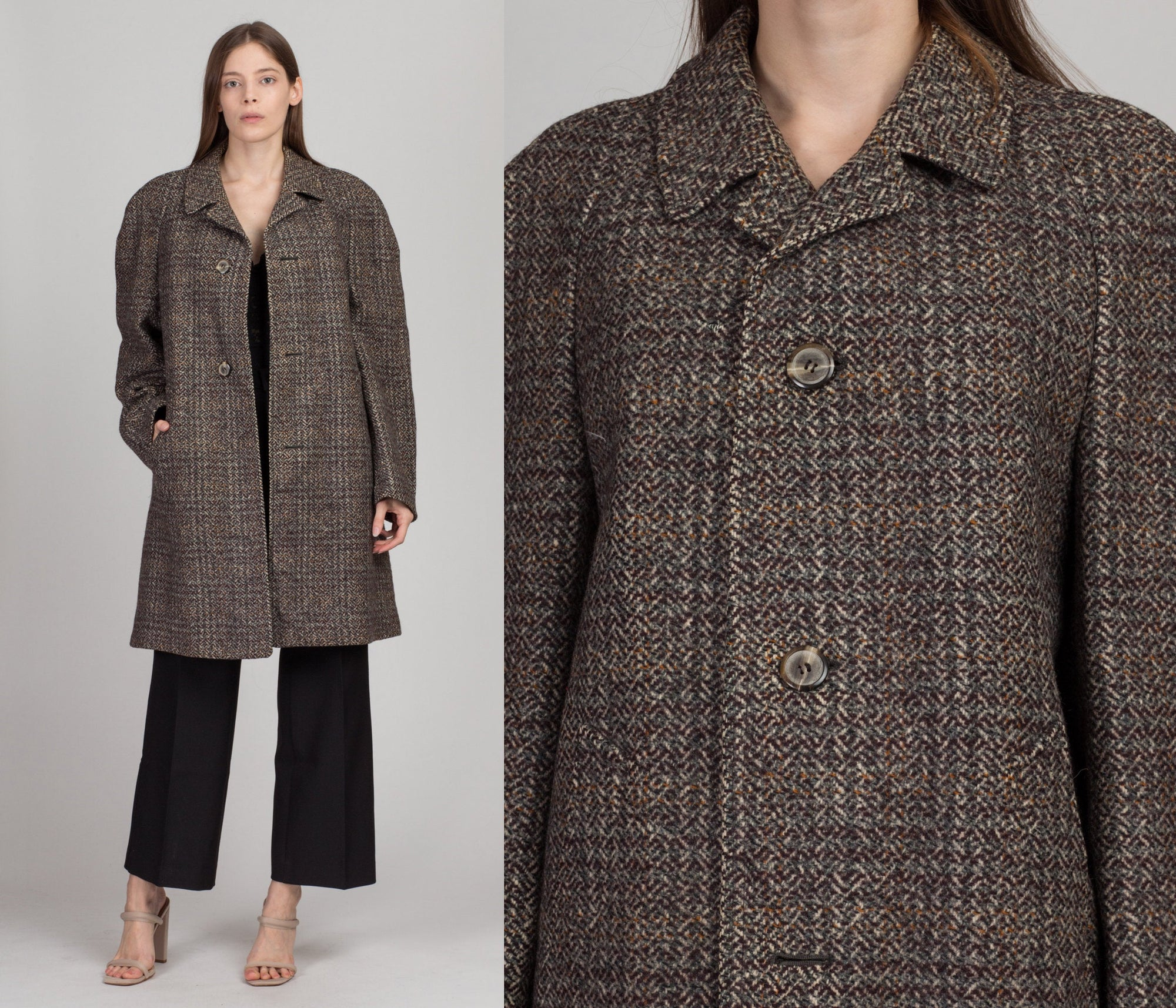 1960s Kynoch Keith Scotland Wool Tweed Overcoat - Men's Medium, Women's Large | Vintage 60s Button Up Long Winter Jacket