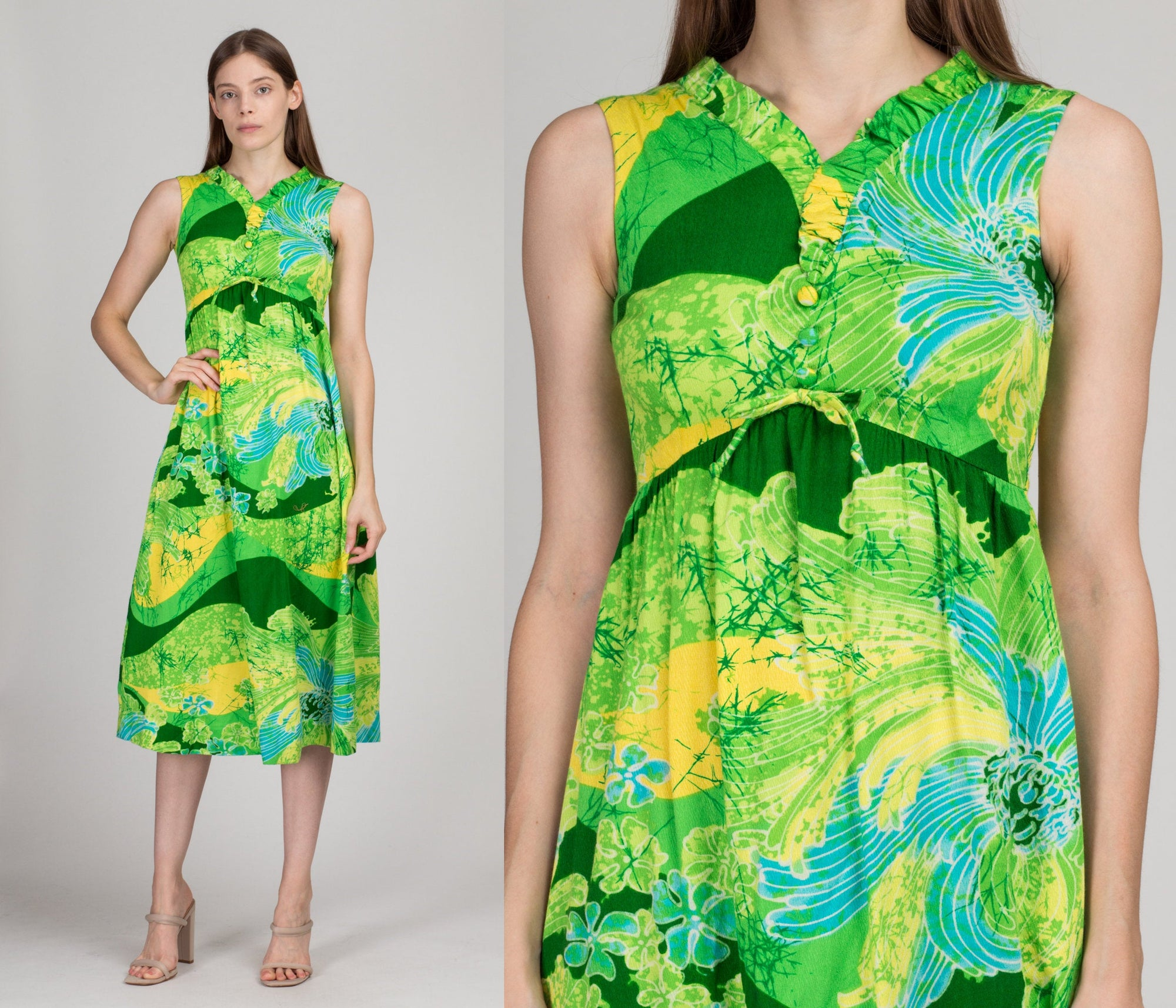 60s Lilia Honolulu Hawaiian Maxi Dress - Girl's Large | Vintage Bright Green Barkcloth Boho Column Sundress