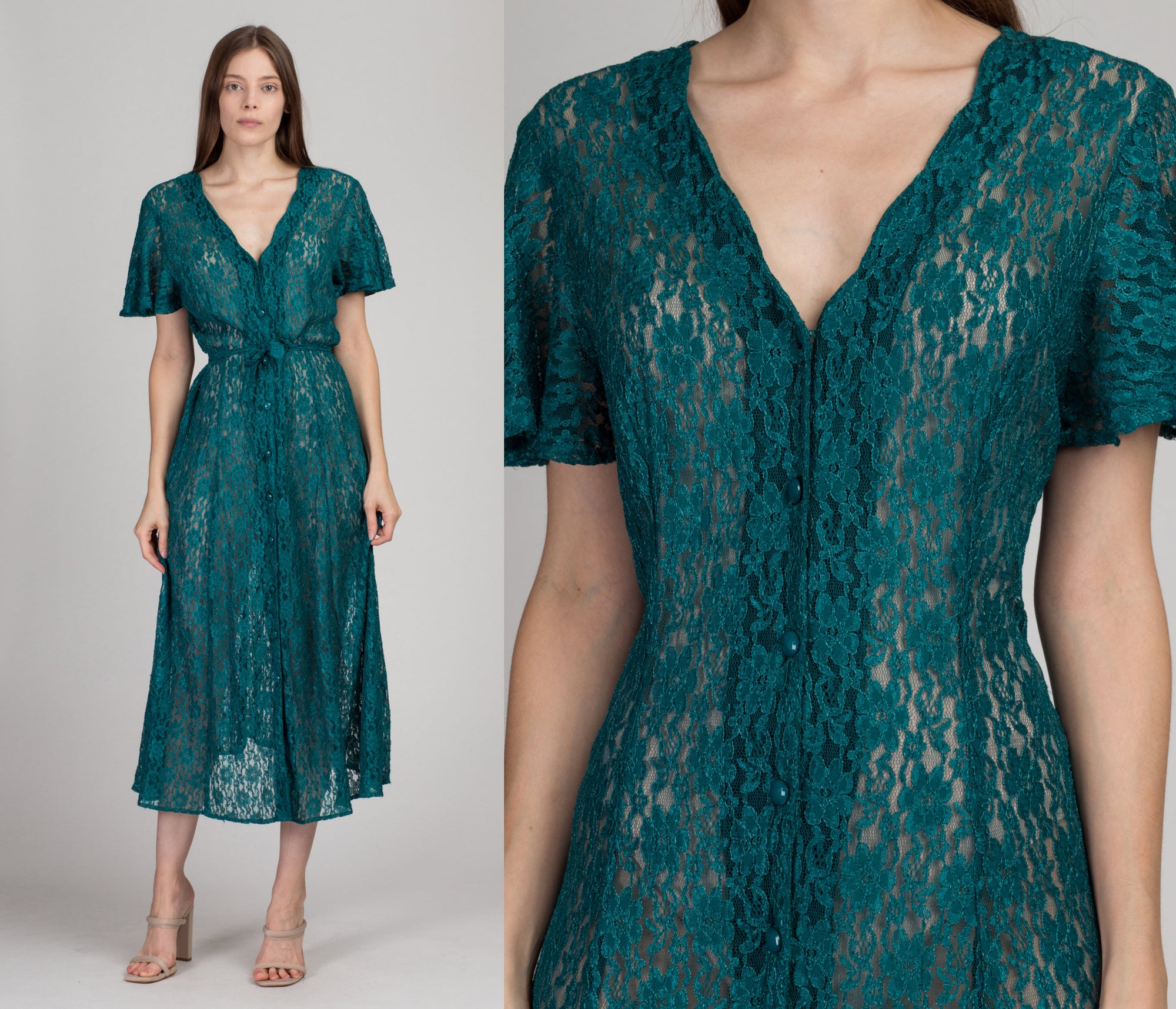 90s Sheer Jade Lace Summer Dress - Medium to Large | Vintage Floral Grunge Festival Maxi Sundress