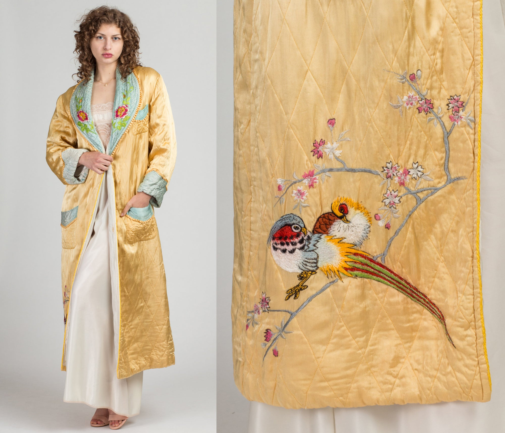 40s 50s Embroidered Quilted Robe - Small to Medium | Vintage Boho Yellow Blue Floral Dressing Gown