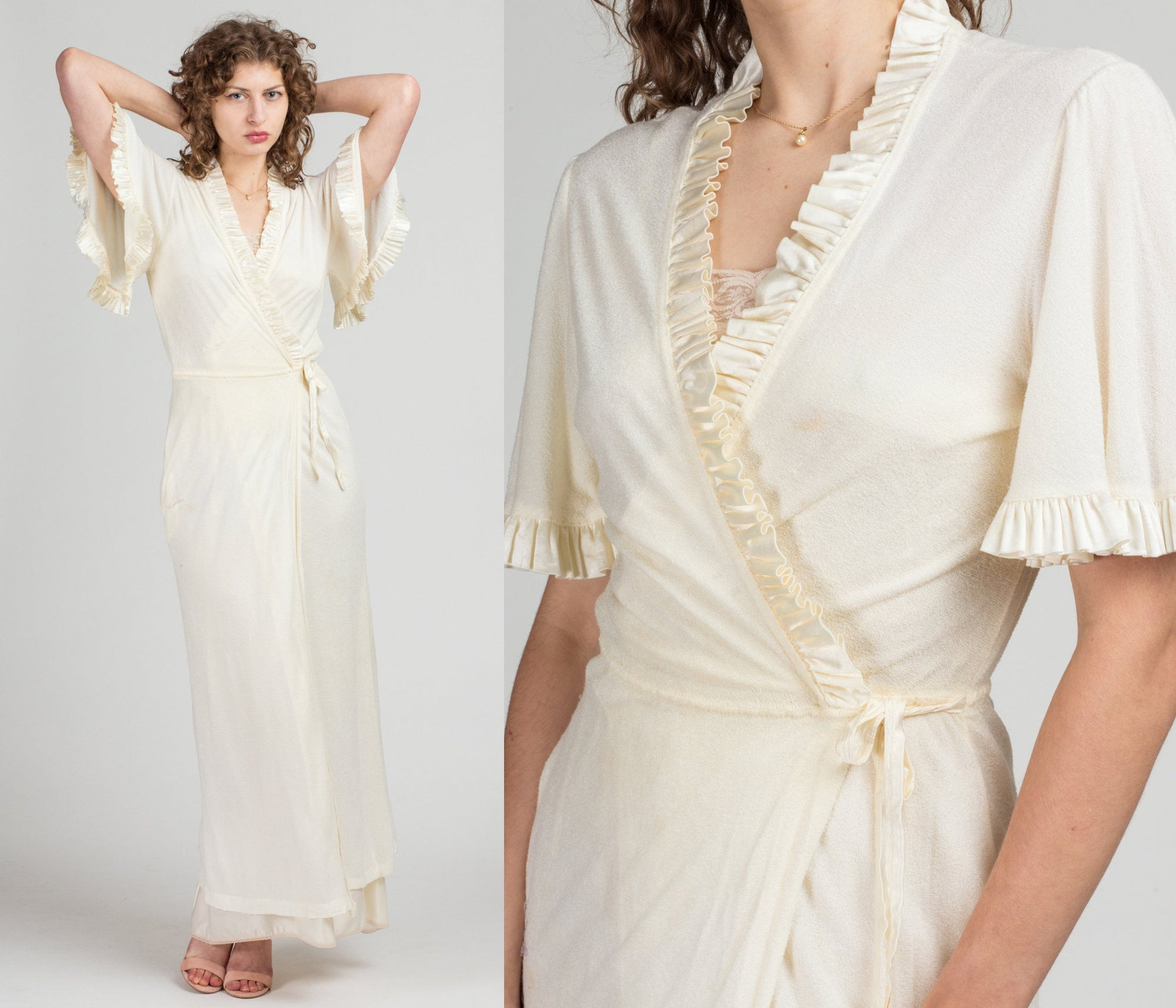 70s Flutter Sleeve Dressing Gown - Medium | Vintage Off-White Terrycloth Ruffle Trim Robe