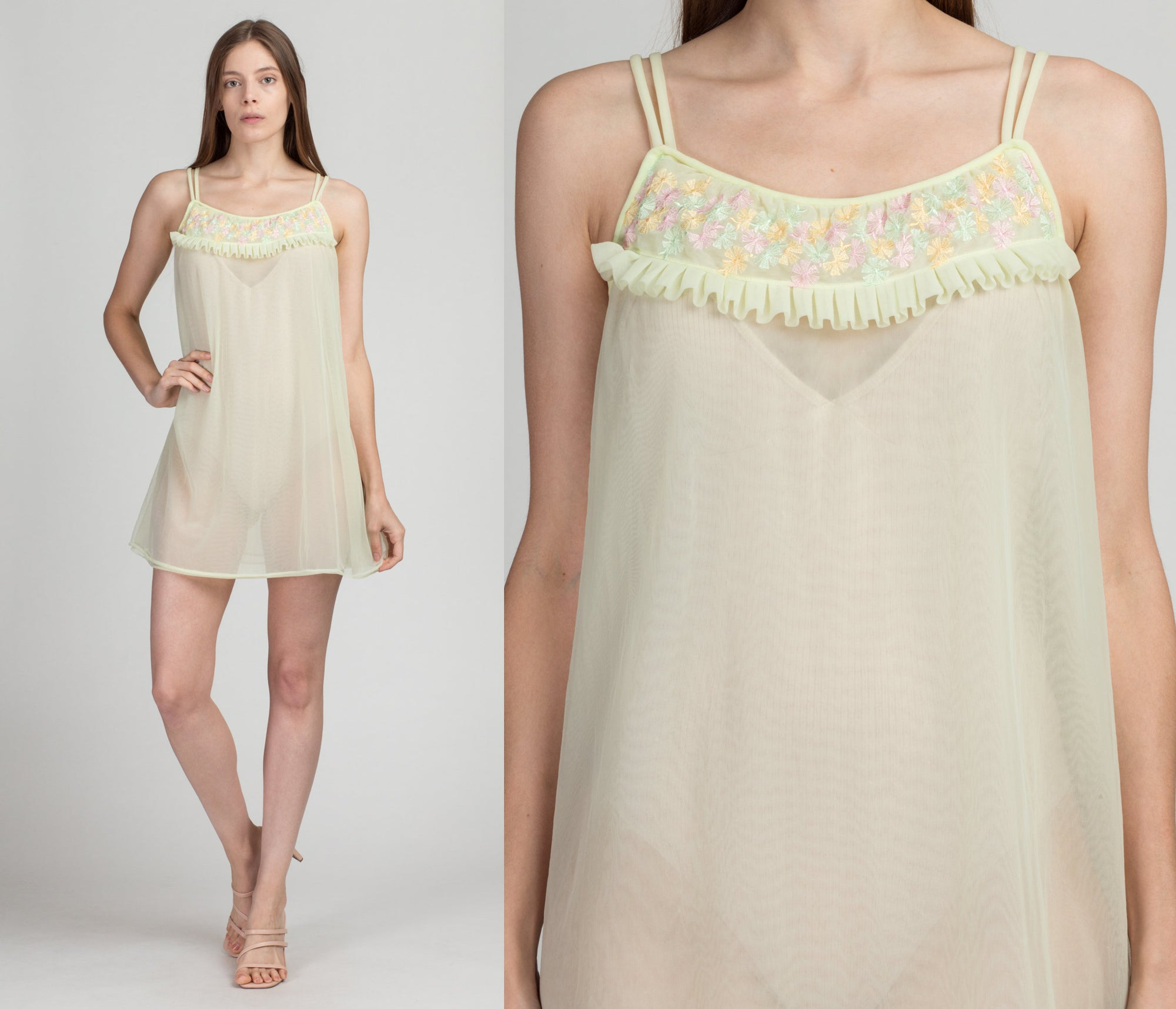 60s Mint Green Floral Trim Babydoll Nightie - Medium | Vintage Sheer Peignoir Mini Negligee Slip Dress