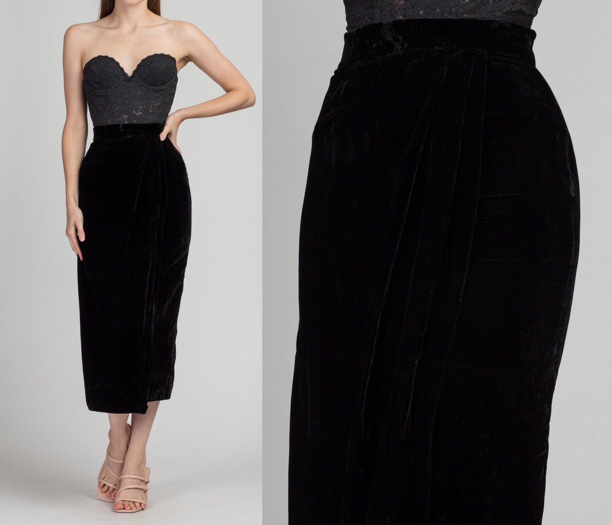 Vintage Black Velvet Draped Midi Skirt - Extra Small | 90s Minimalist Wrap Style Pencil Skirt