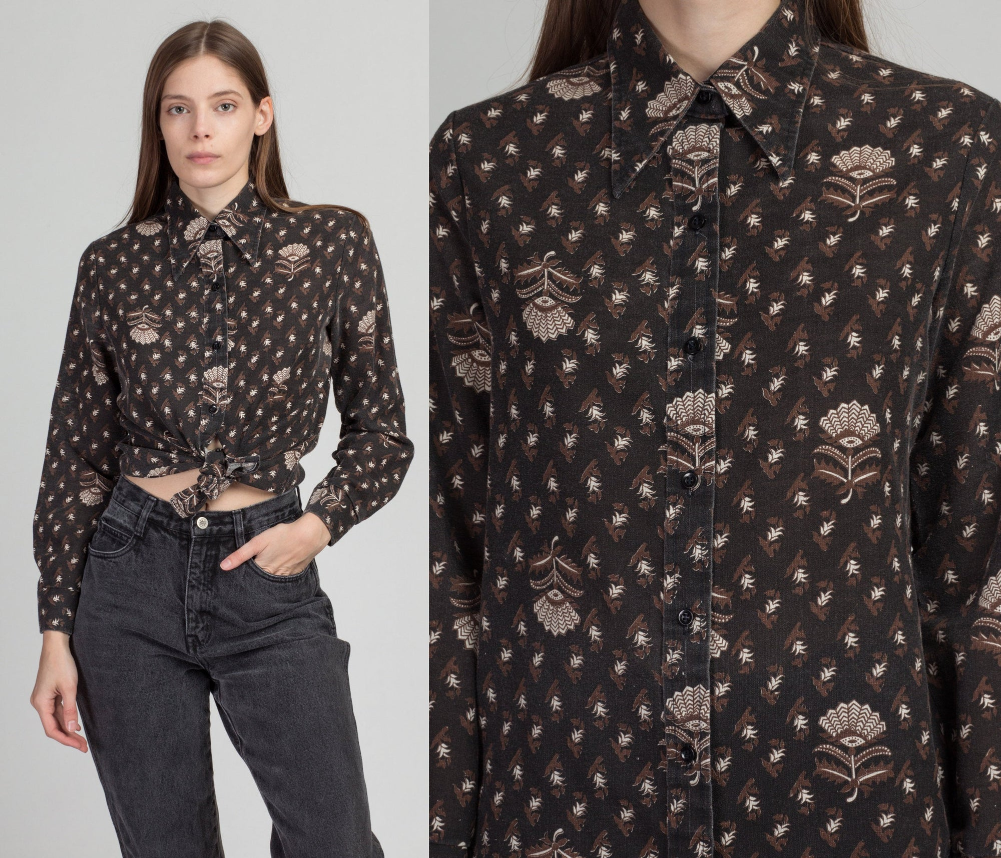 70s Bobbie Brooks Black Floral Shirt - Medium | Vintage Pointed Collar Button Up Long Sleeve Top