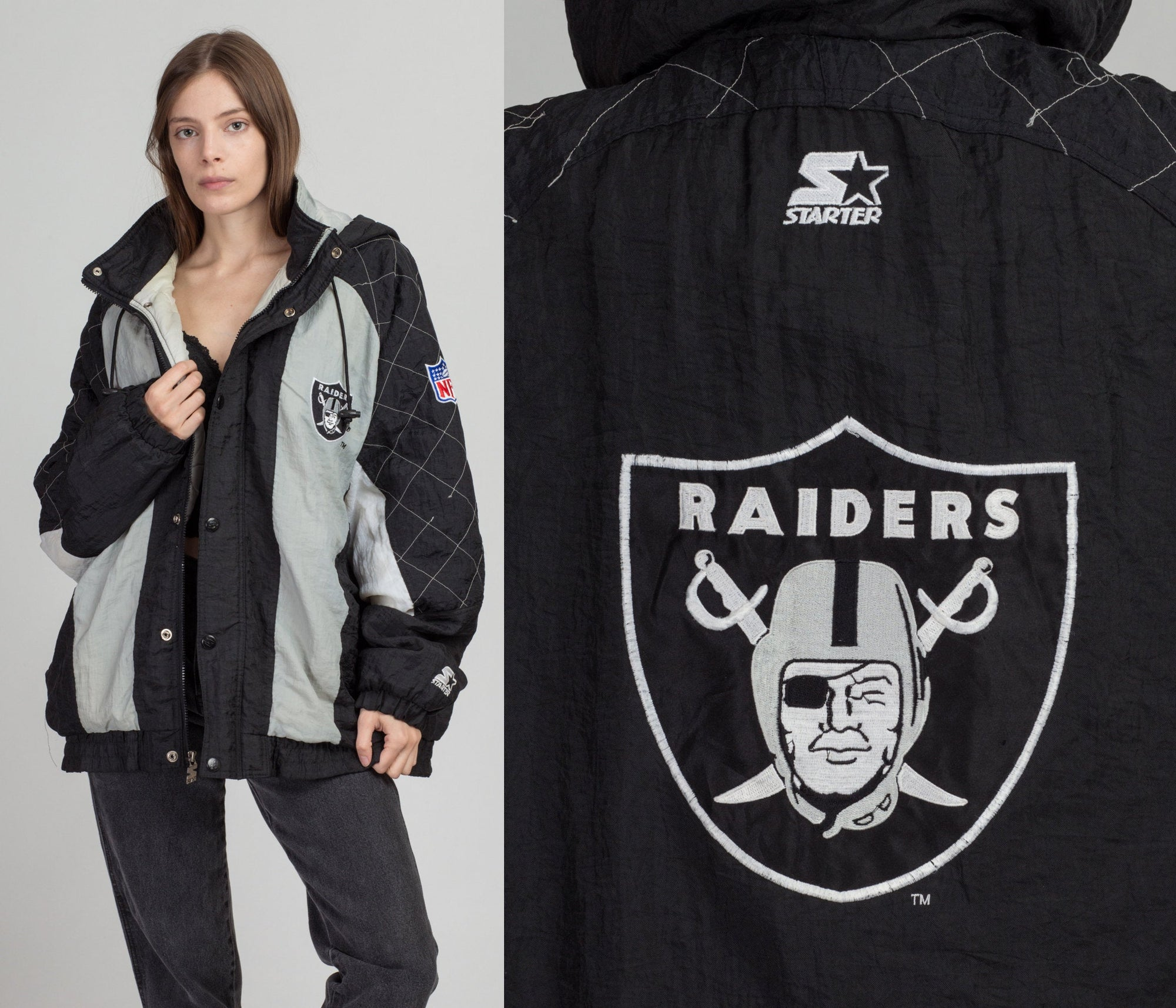 Vintage Raiders Starter Jacket - Men's XL | 90s NFL Football Puffy Hooded Winter Coat
