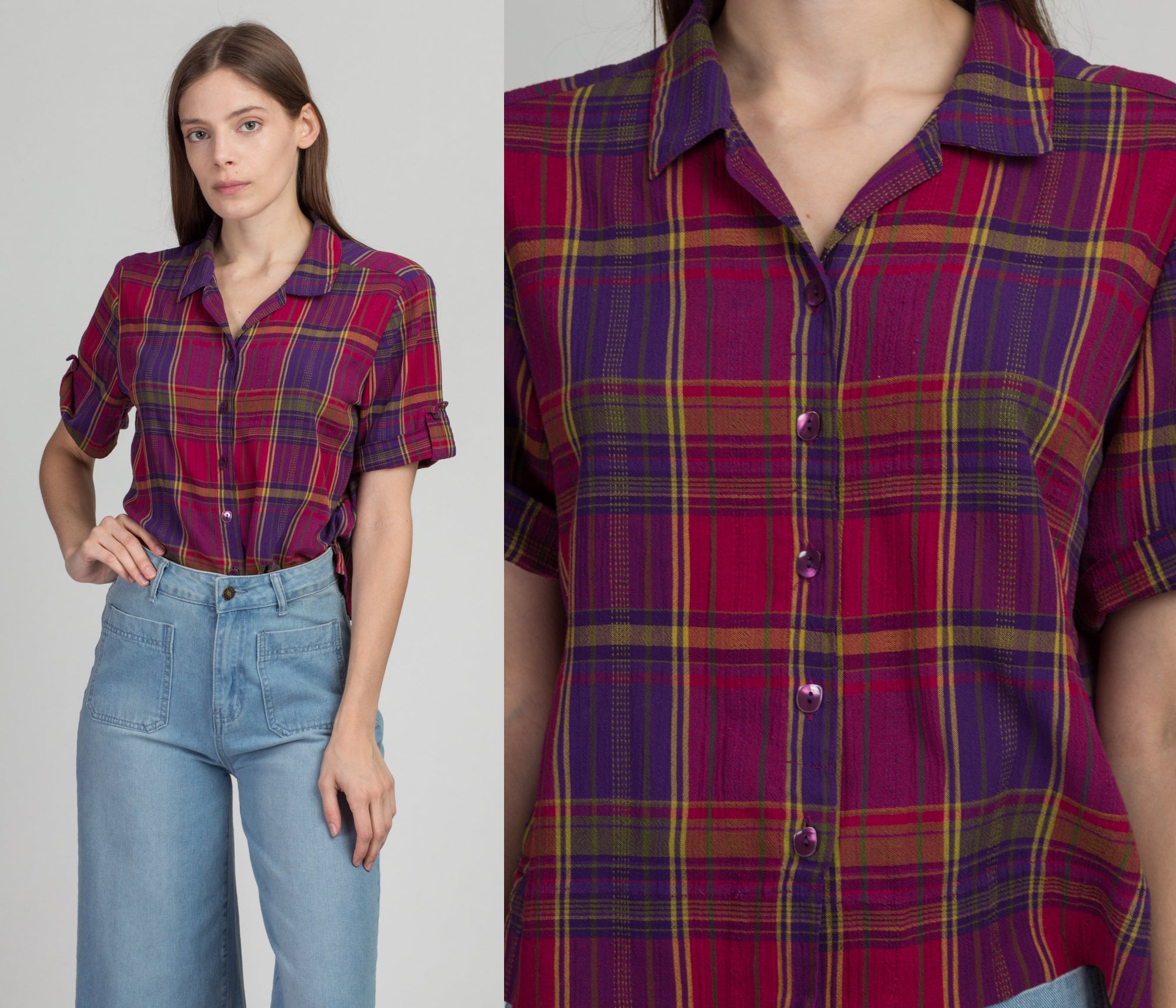 90s Purple Plaid Cropped Blouse - Small | Vintage Button Up Boxy Collared Short Sleeve Shirt
