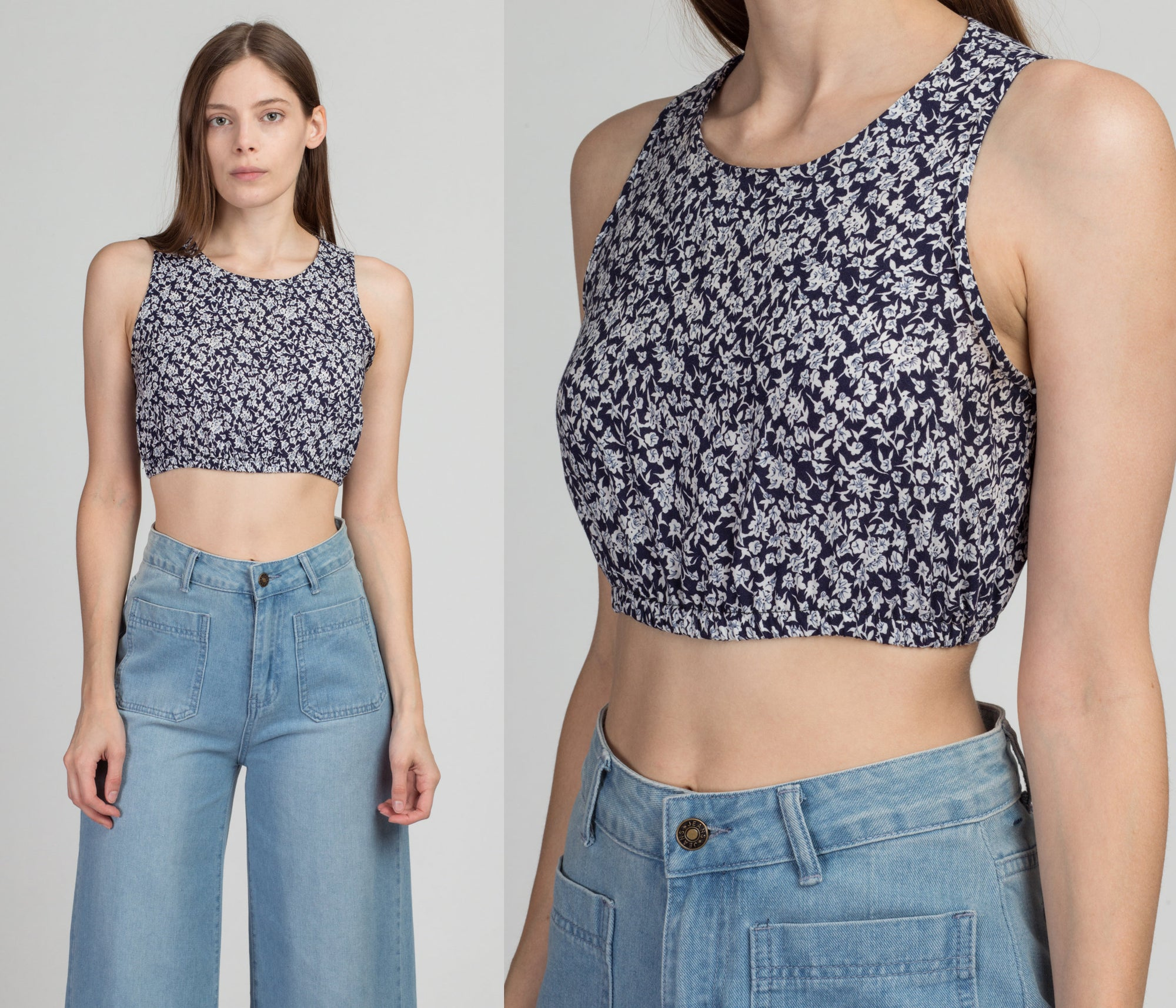90s Blue Floral Crop Top - Petite Small | Vintage Grunge Fitted Waist Cropped Tank Blouse