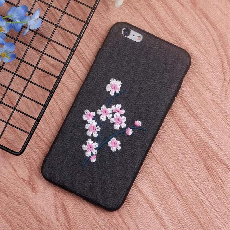 Soft Phone Protective Case for iPhone 6s Plus/6 Plus 3D Embroidery Plum  flower