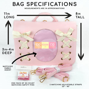 lolita style ita bag crossbody tote backpack for enamel pins pink comes with matching safety pins and specifications