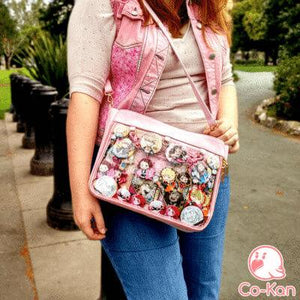 pink ita bag on model kacchako
