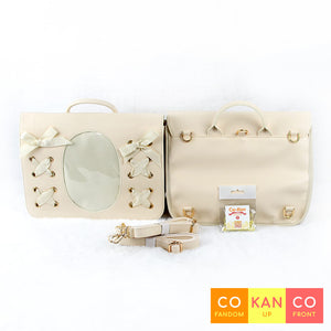 lolita style ita bag crossbody tote backpack for enamel pins beige