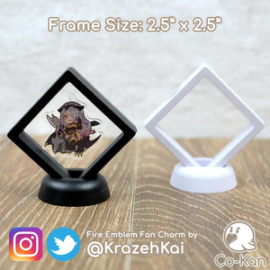 "Float Frame anime merch or ita bag accessory by Co-Kan Two pack: 2.5"" x 2.5"" Black"